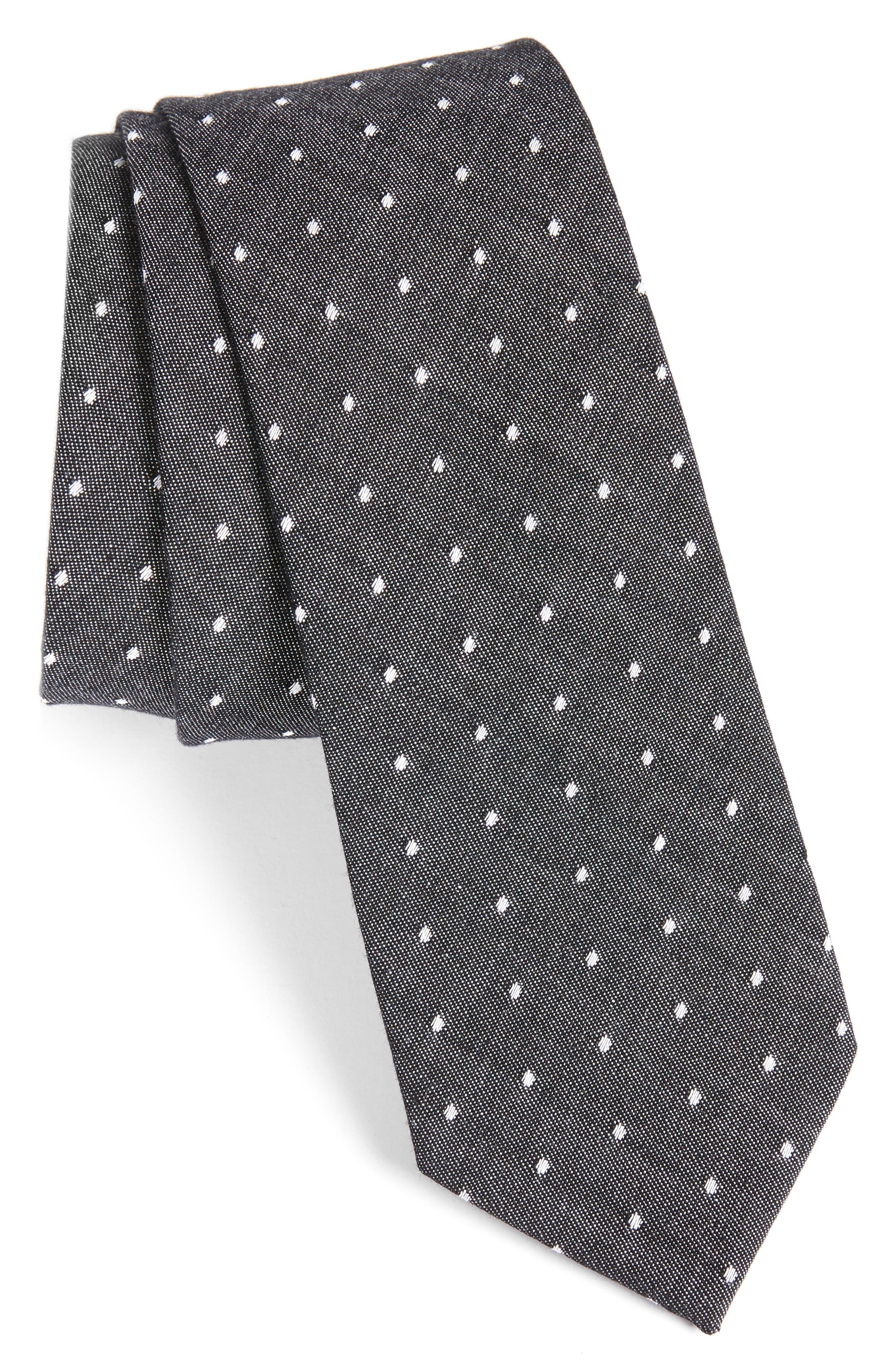 Dot Cotton Tie,                         Main,                         color, Black