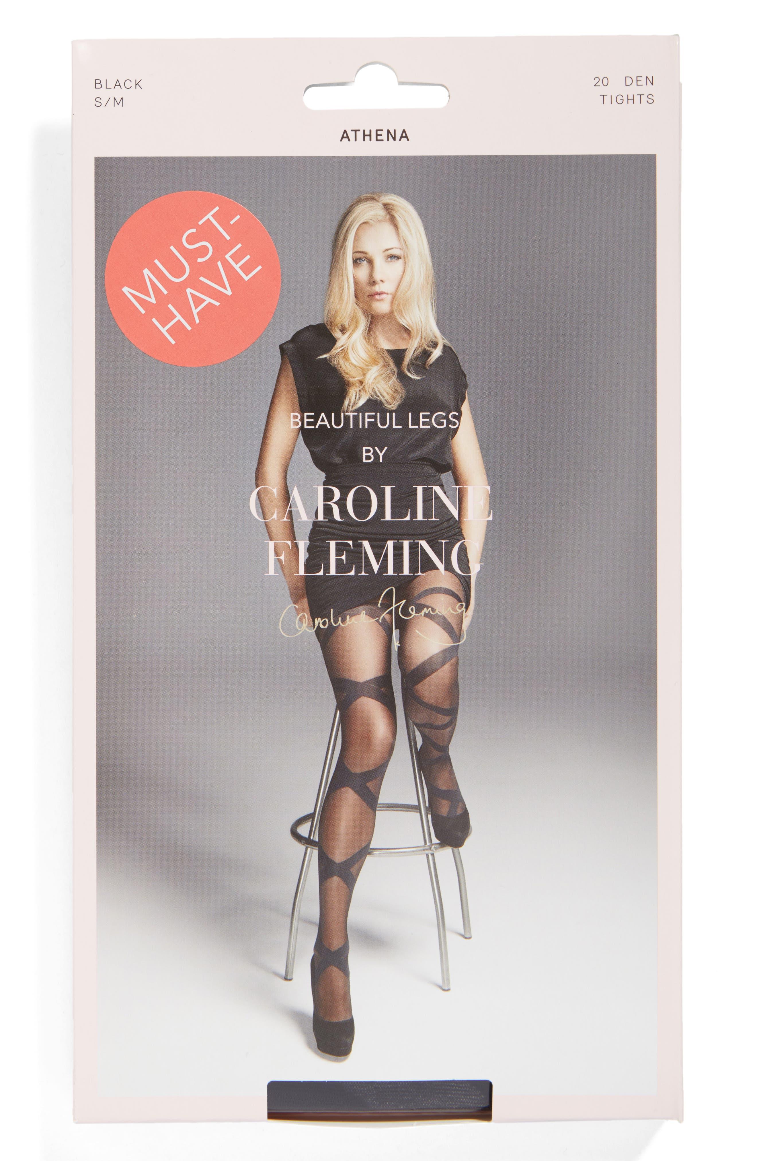 Fleming Athena Stripe Pantyhose,                             Alternate thumbnail 2, color,                             Black