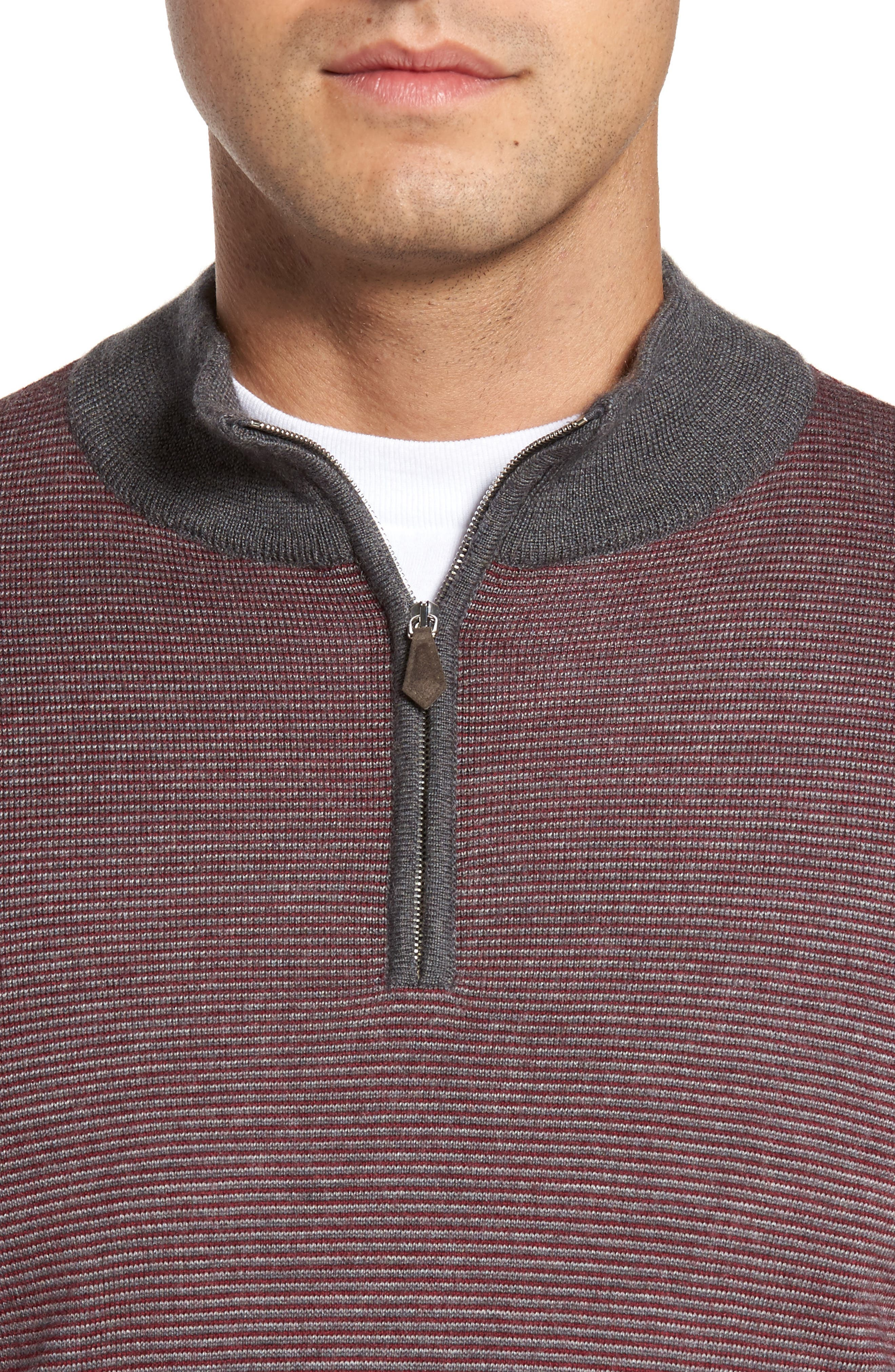 Trichrome Stripe Merino Wool Blend Sweater,                             Alternate thumbnail 4, color,                             Chianti