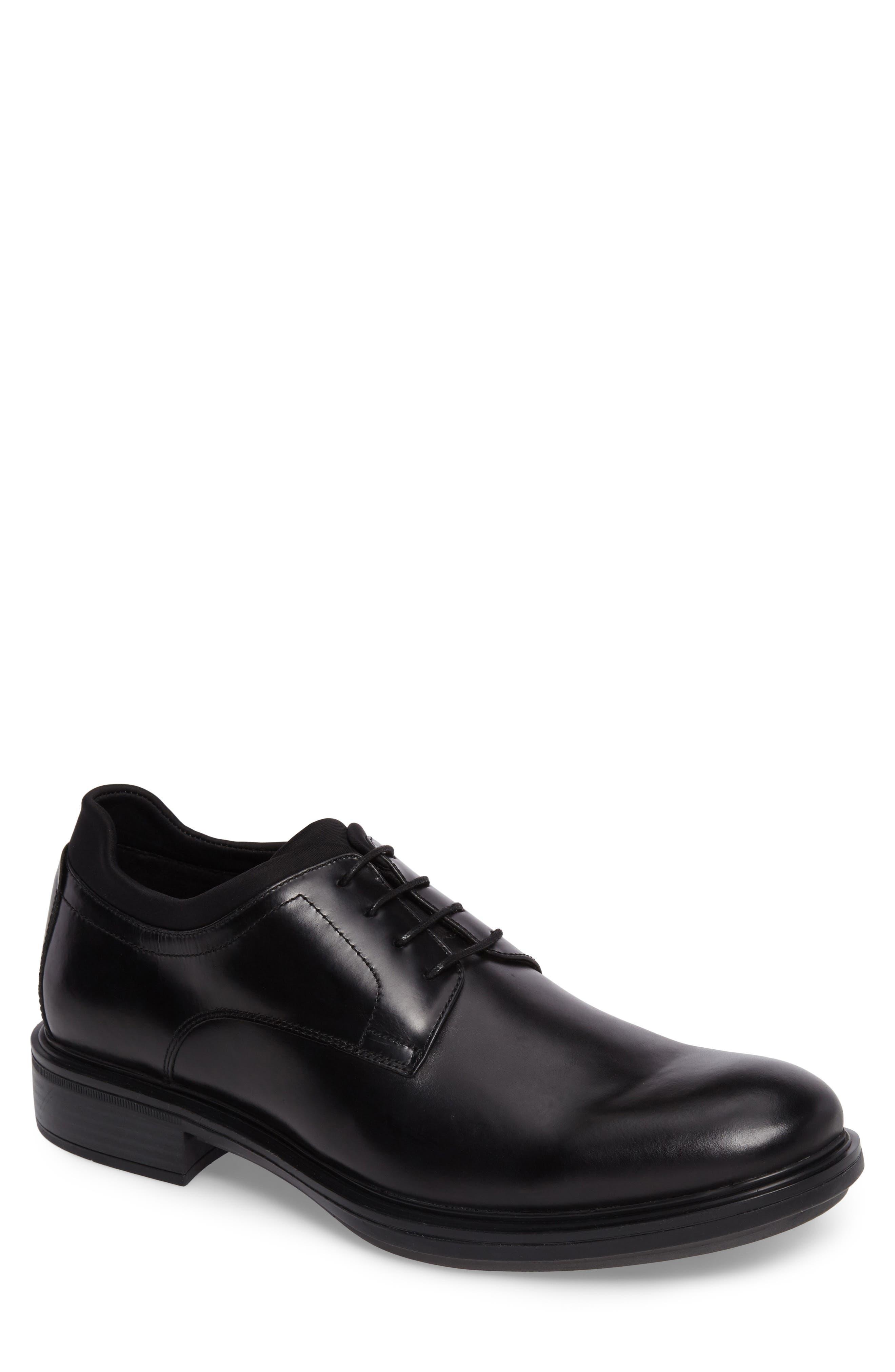 Plain Toe Derby,                         Main,                         color, Black Leather