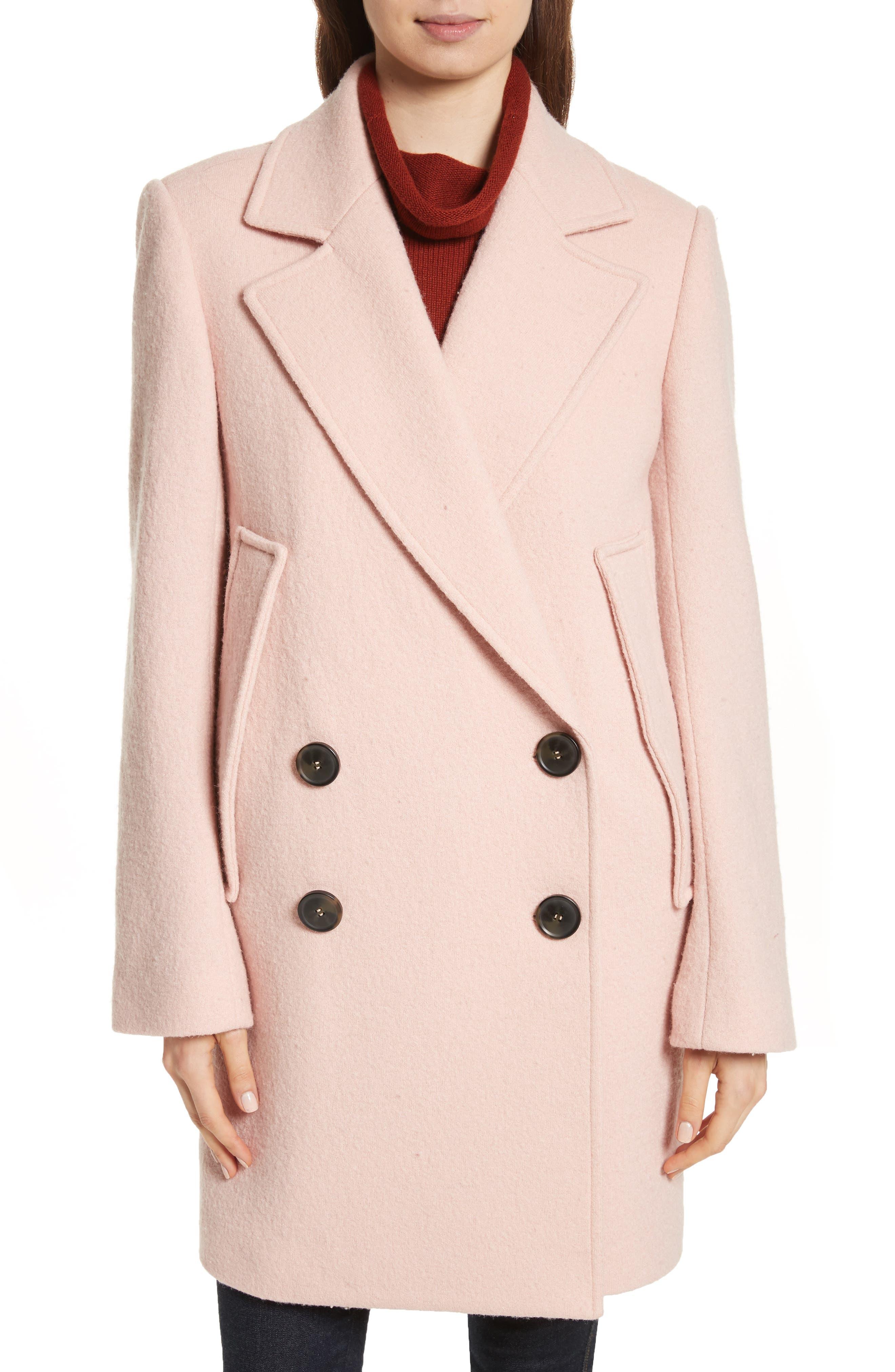 Wool Bouclé Coat,                         Main,                         color, Chalk Pink