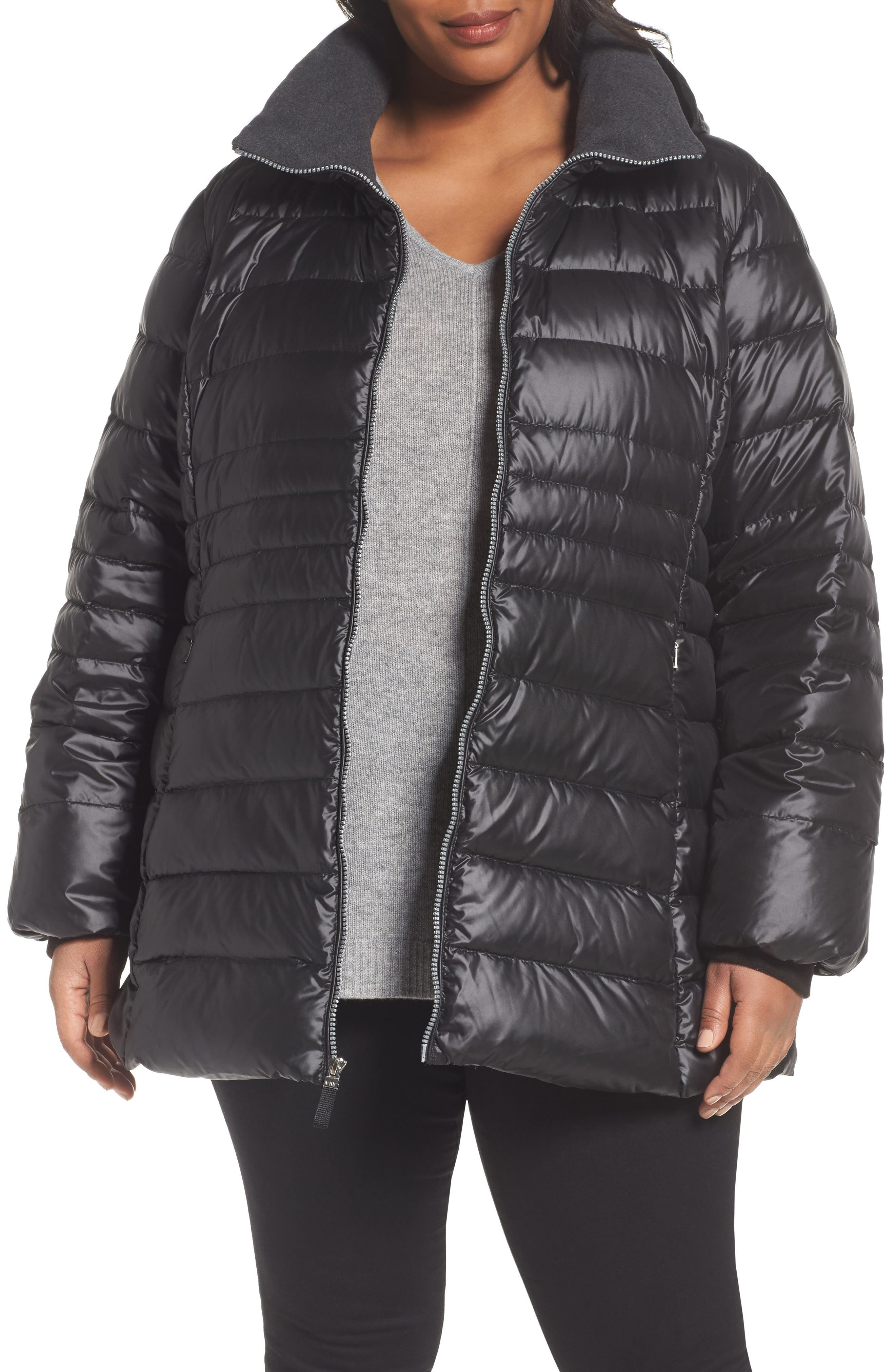 Erin Hooded Down Coat,                         Main,                         color, Black