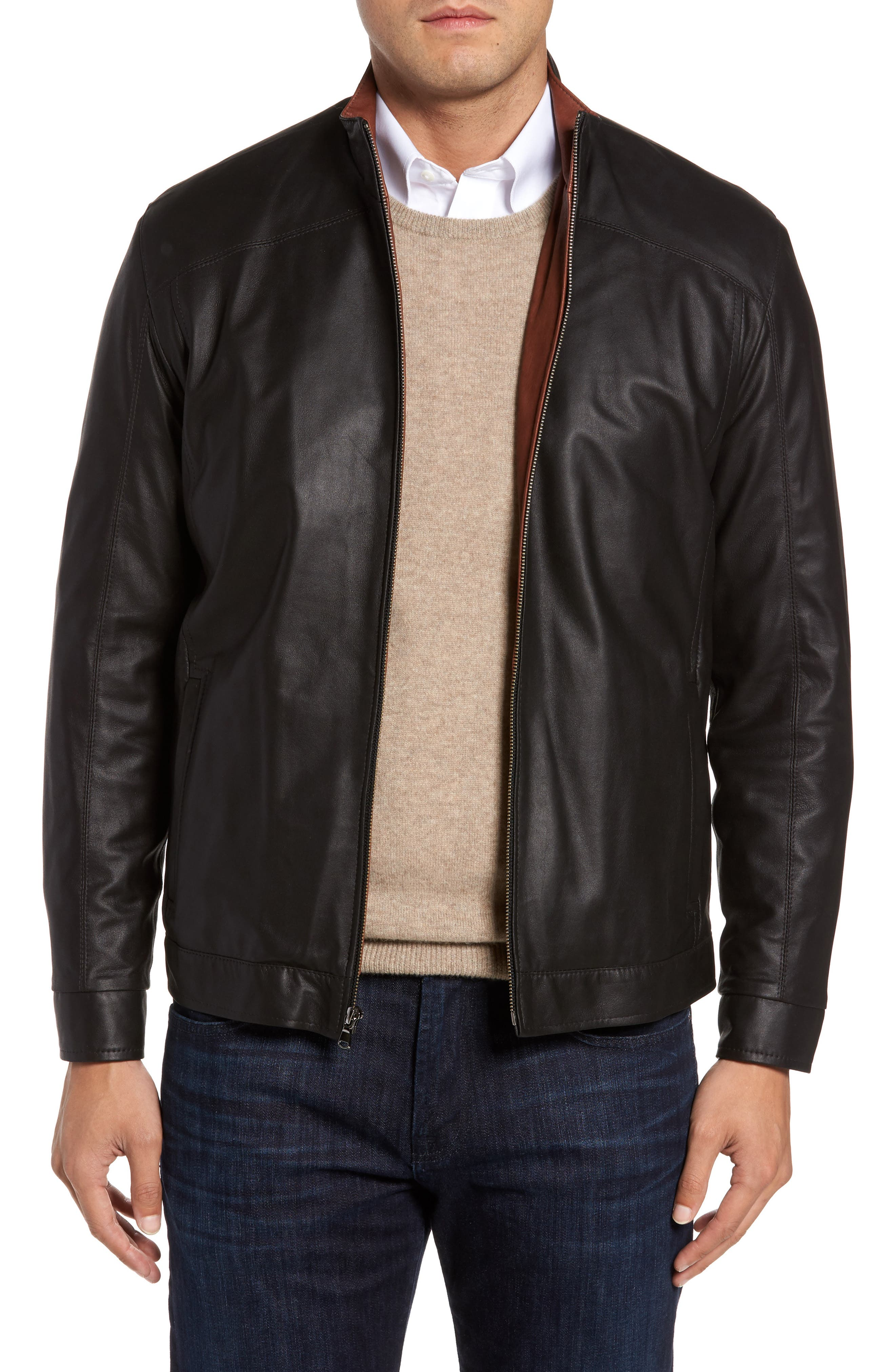 Leather Jacket,                         Main,                         color, Peat/ Timber