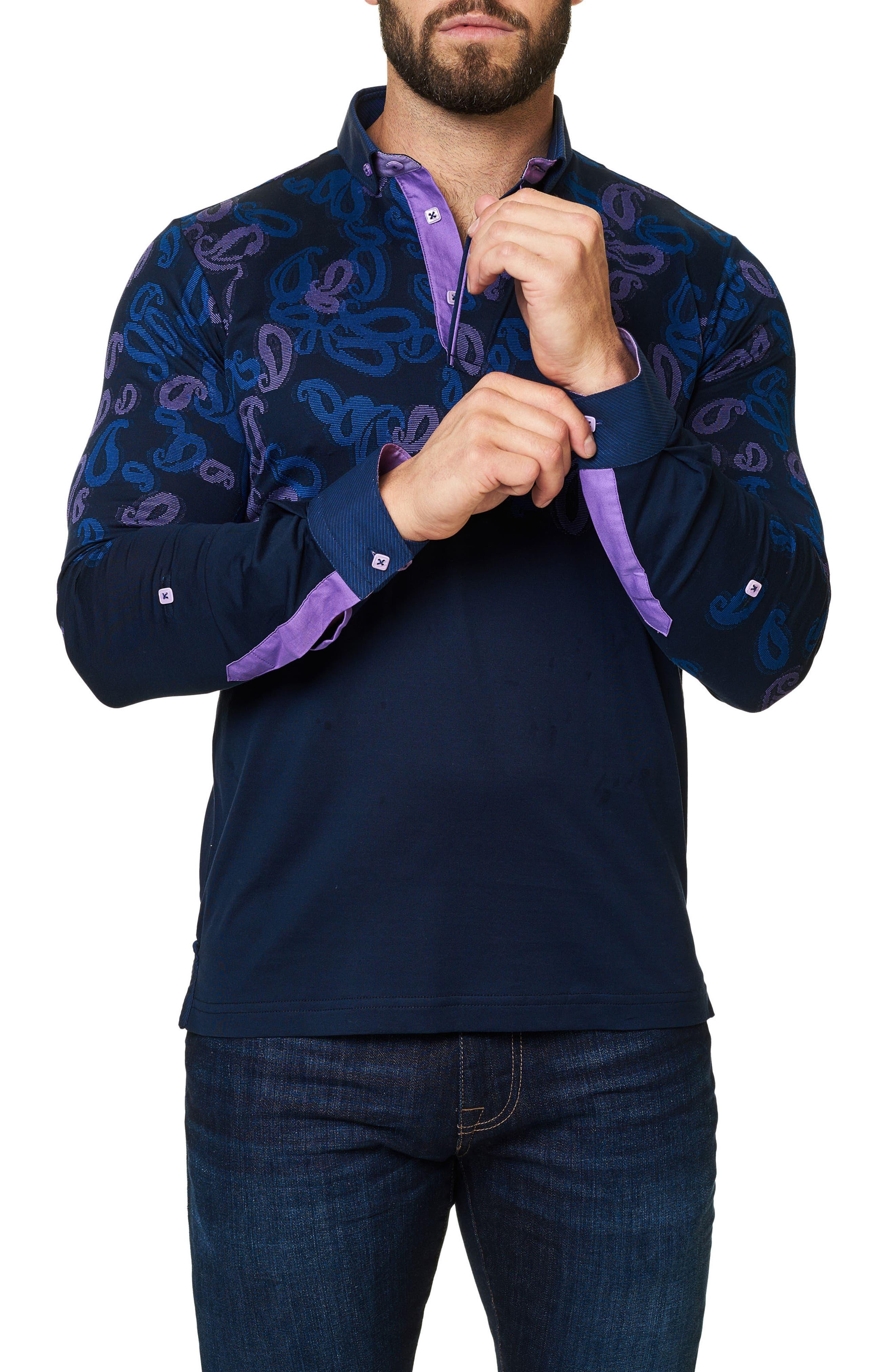 Alternate Image 3  - Maceoo Paisley Long Sleeve Polo