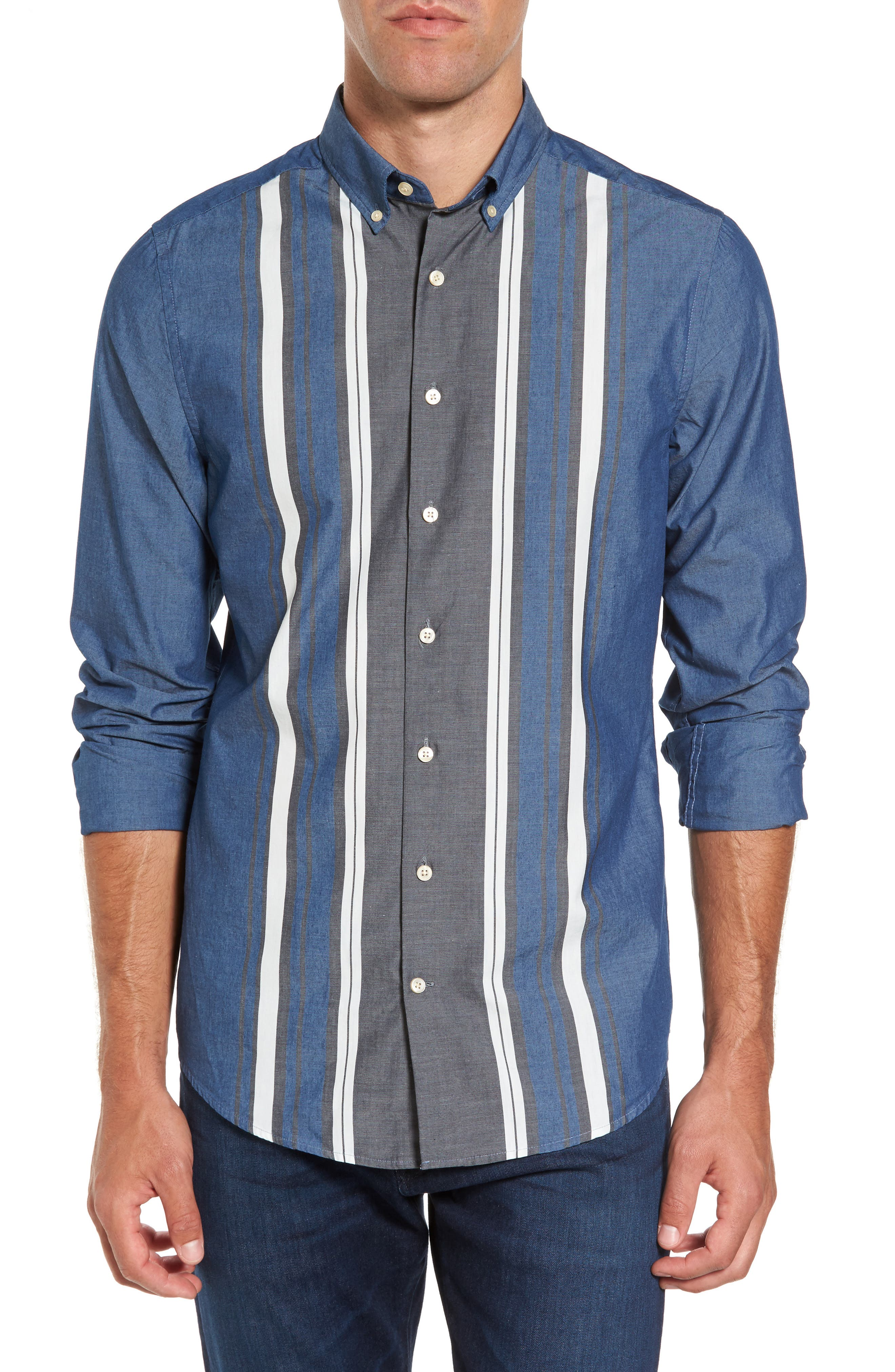 Tech Slim Fit Varsity Stripe Sport Shirt,                         Main,                         color, Evening Blue