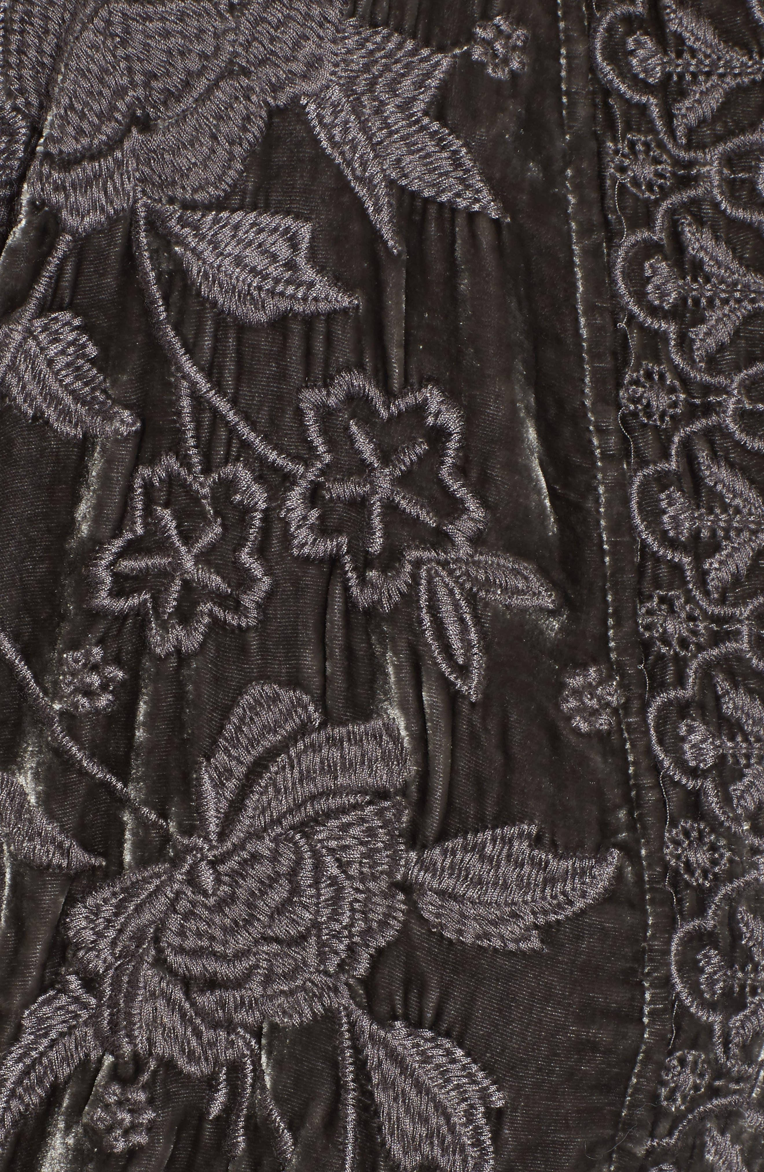 Parina Embroidered Velvet Kimono,                             Alternate thumbnail 5, color,                             Steel Grey