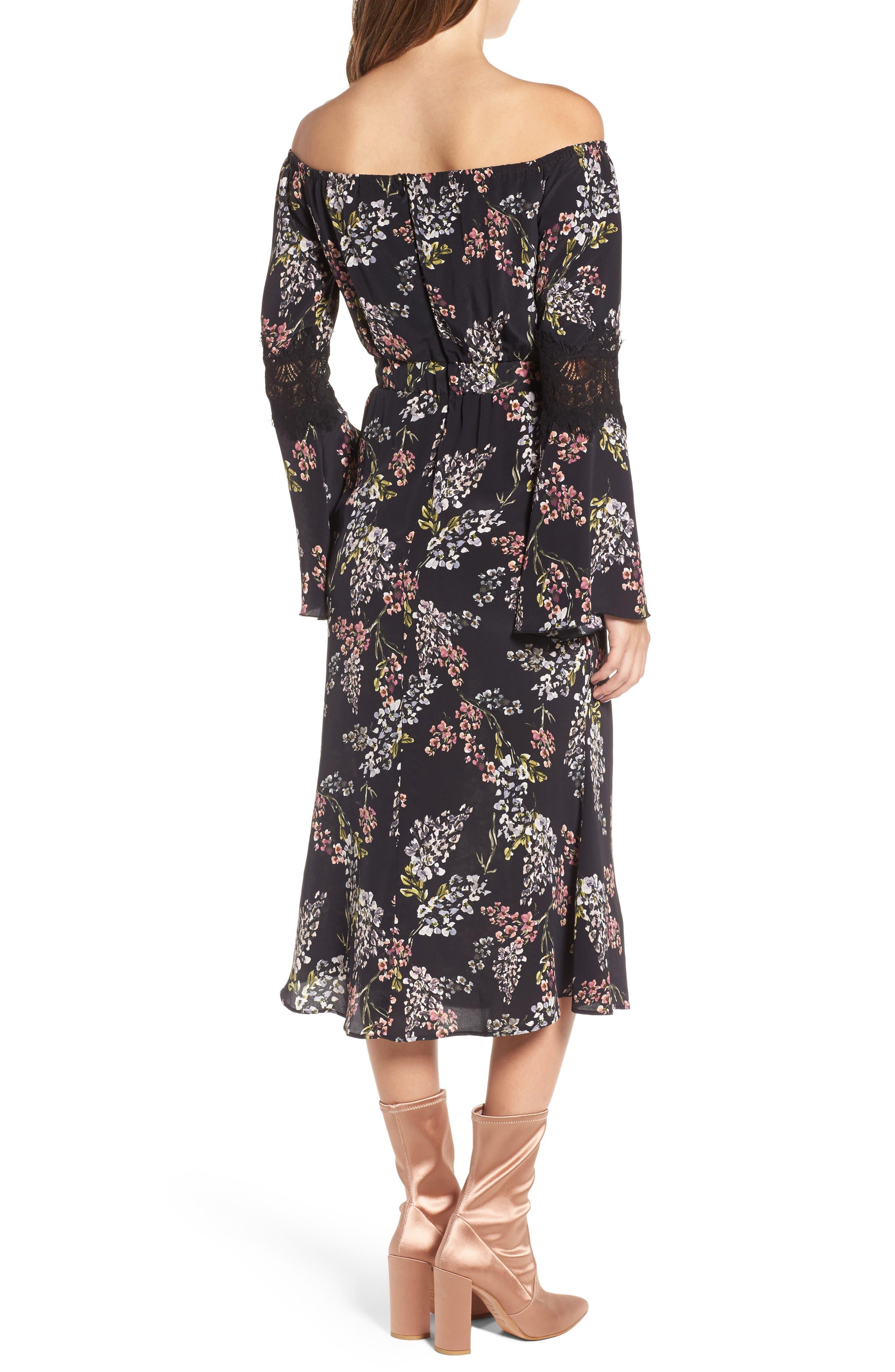 Nicholson Off the Shoulder Dress,                             Alternate thumbnail 2, color,                             Black Autumn