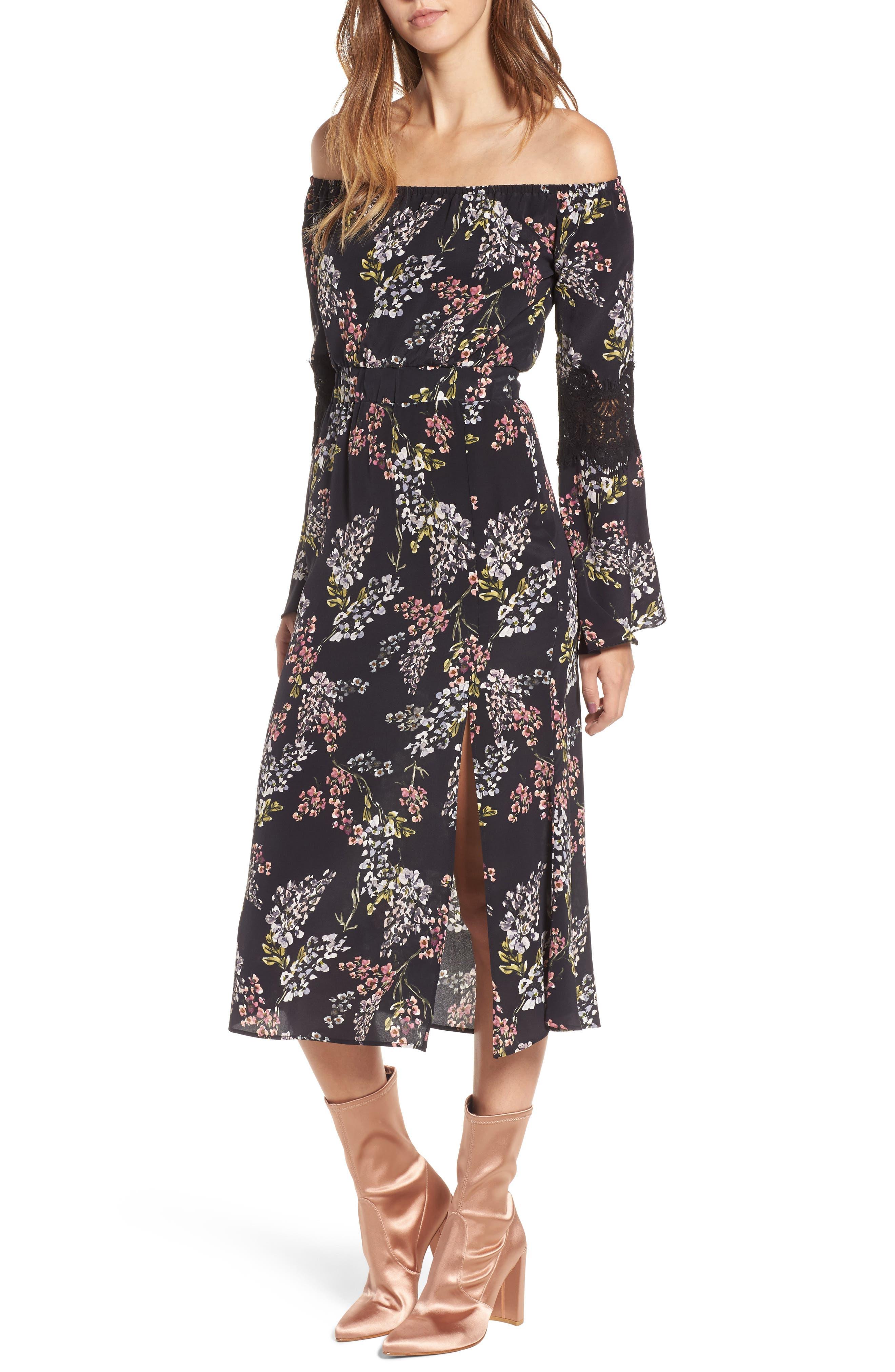 Nicholson Off the Shoulder Dress,                             Main thumbnail 1, color,                             Black Autumn