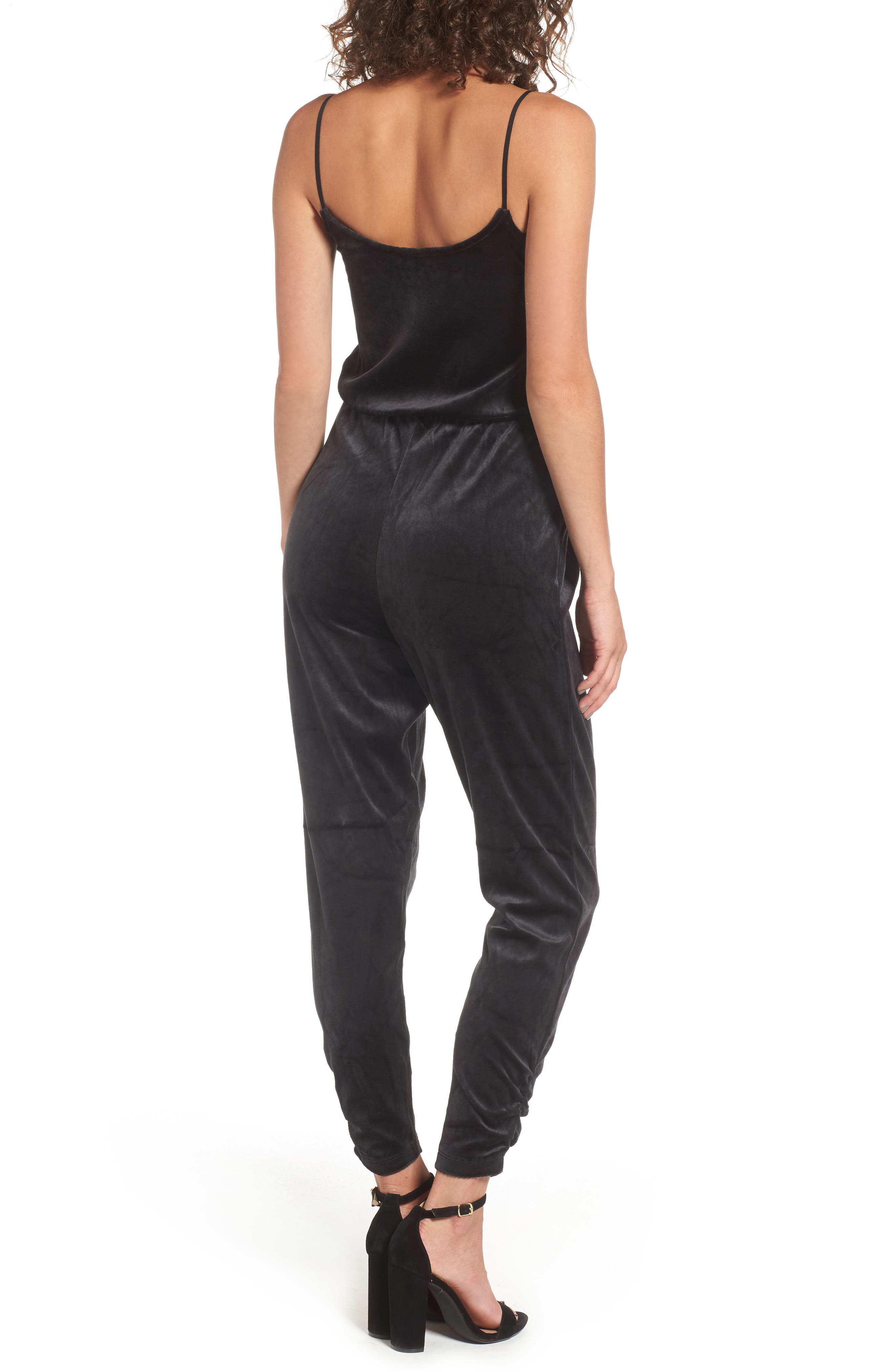 Velour Track Strappy Jumpsuit,                             Alternate thumbnail 2, color,                             Pitch Black