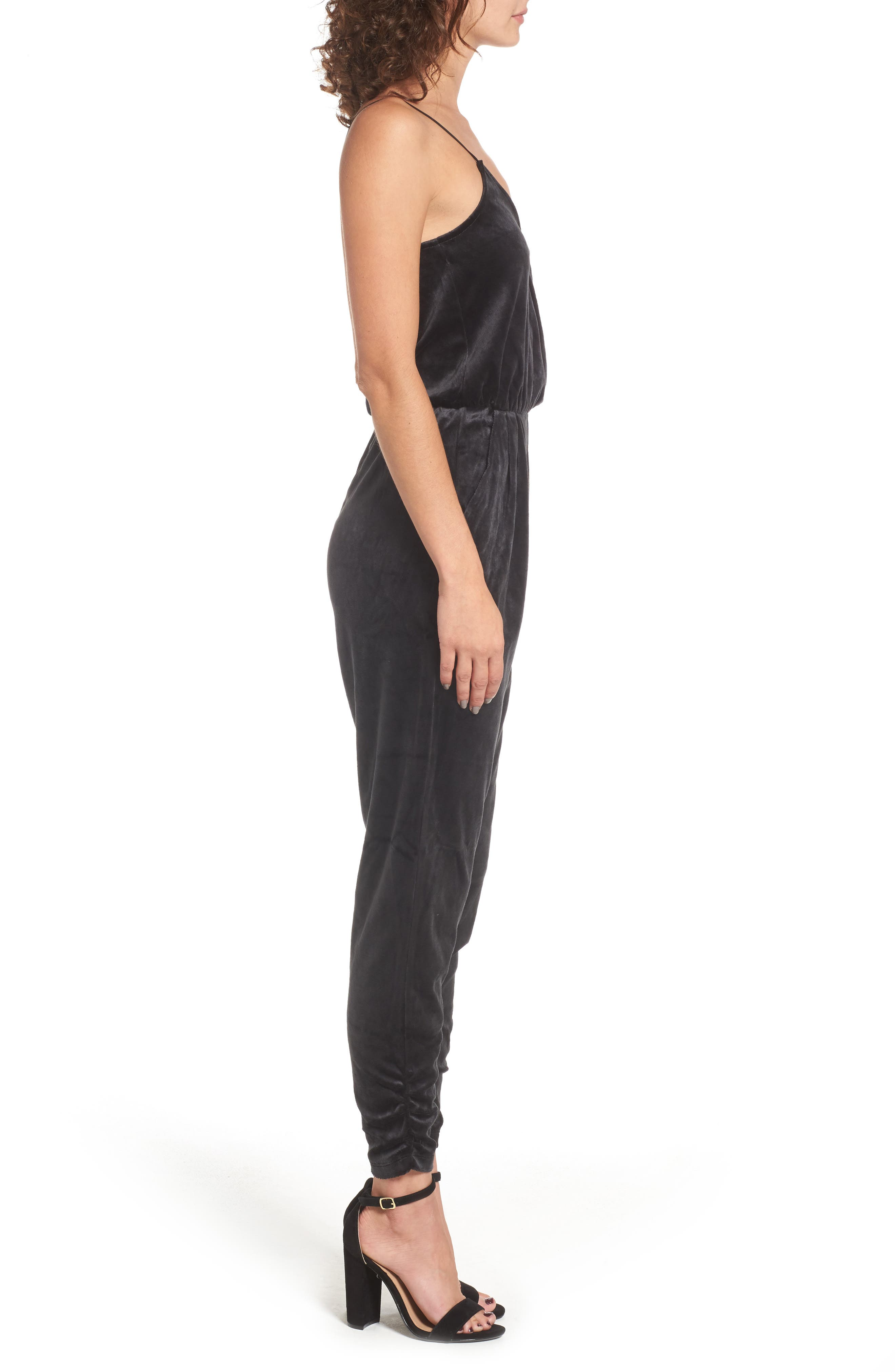 Velour Track Strappy Jumpsuit,                             Alternate thumbnail 3, color,                             Pitch Black