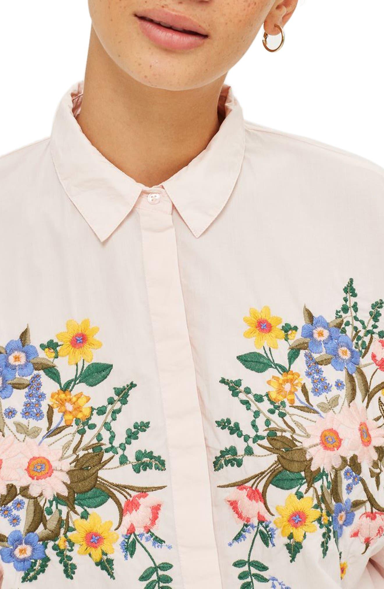 Alternate Image 4  - Topshop Forest Floral Embroidered Shirt