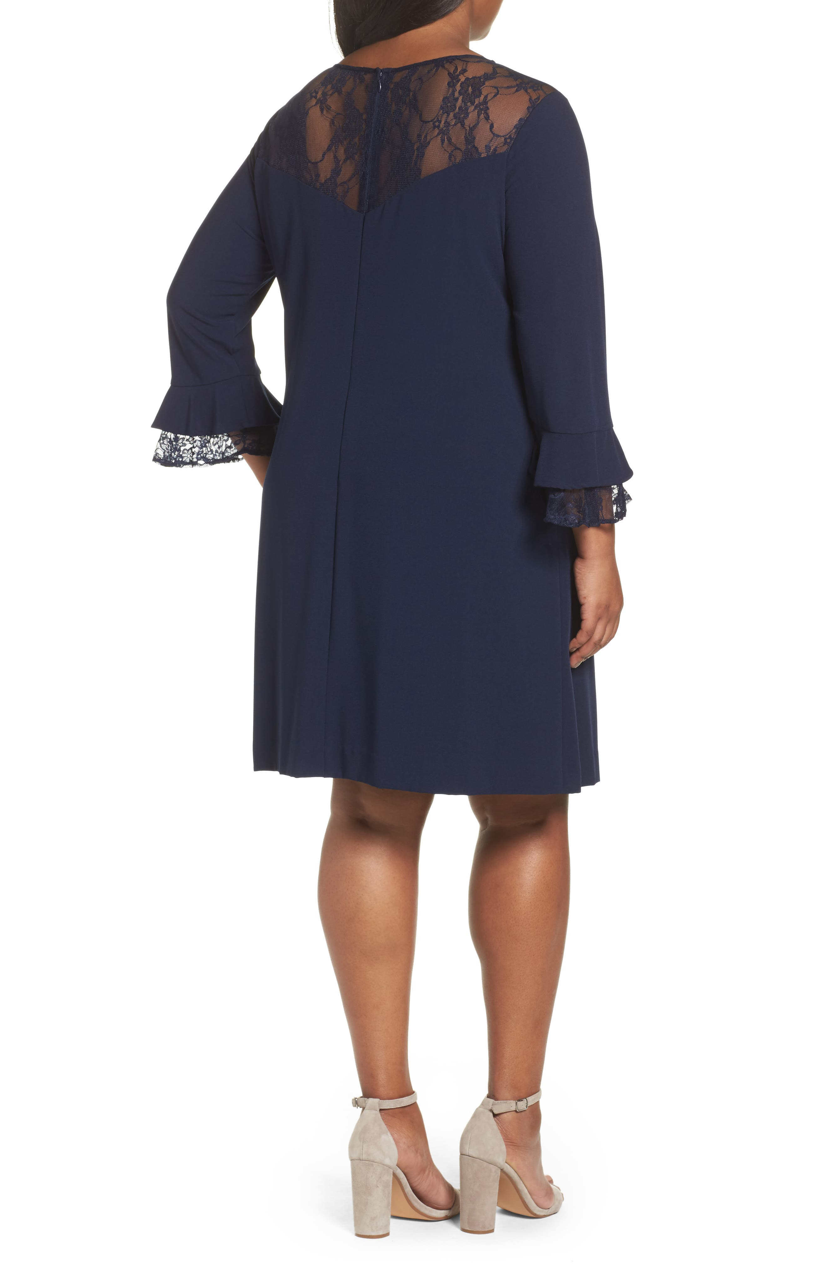 Alternate Image 2  - Tahari Lace Trim Shift Dress (Plus Size)