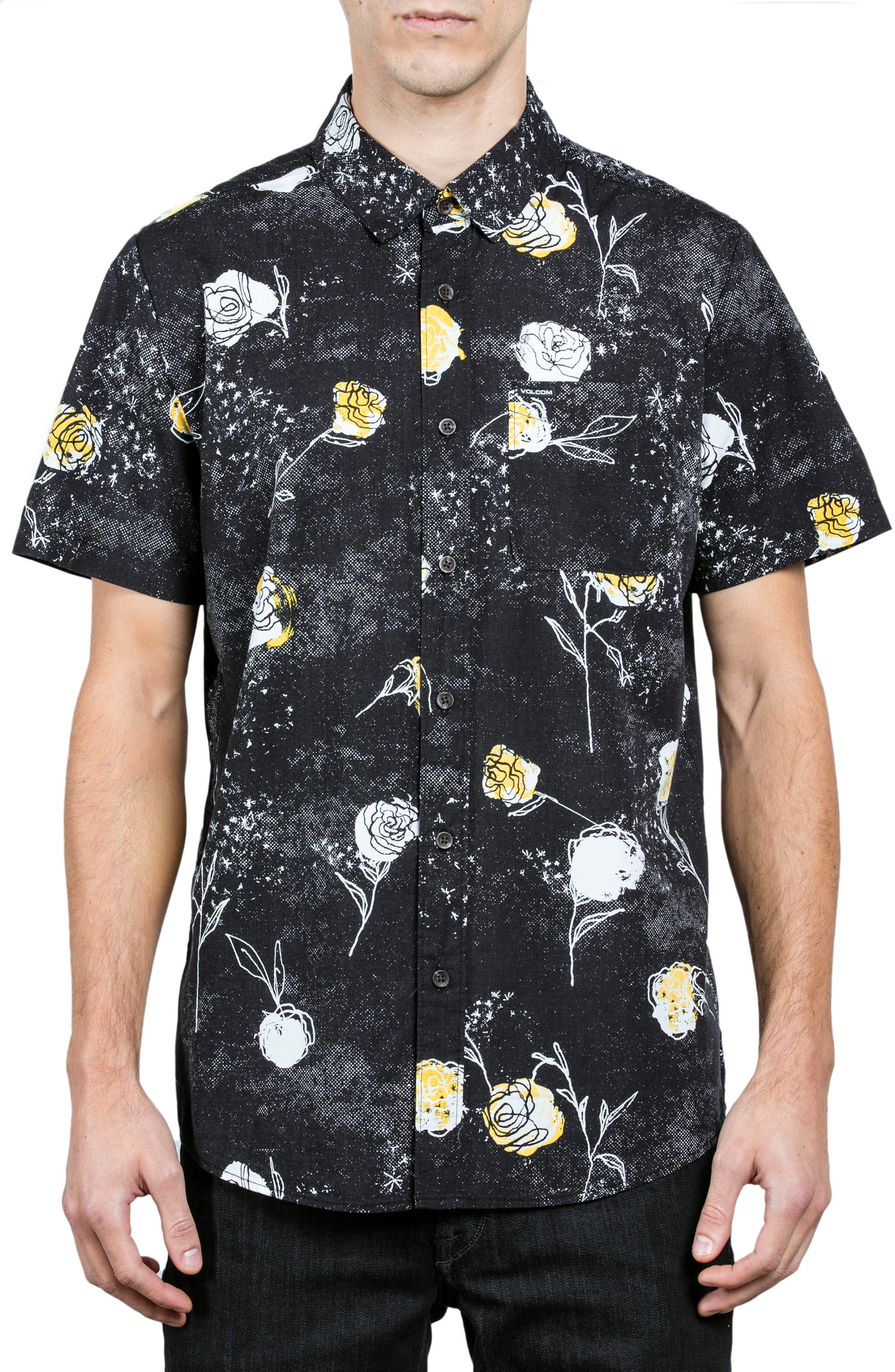 Jaded & Wilted Floral Shirt,                         Main,                         color, Black