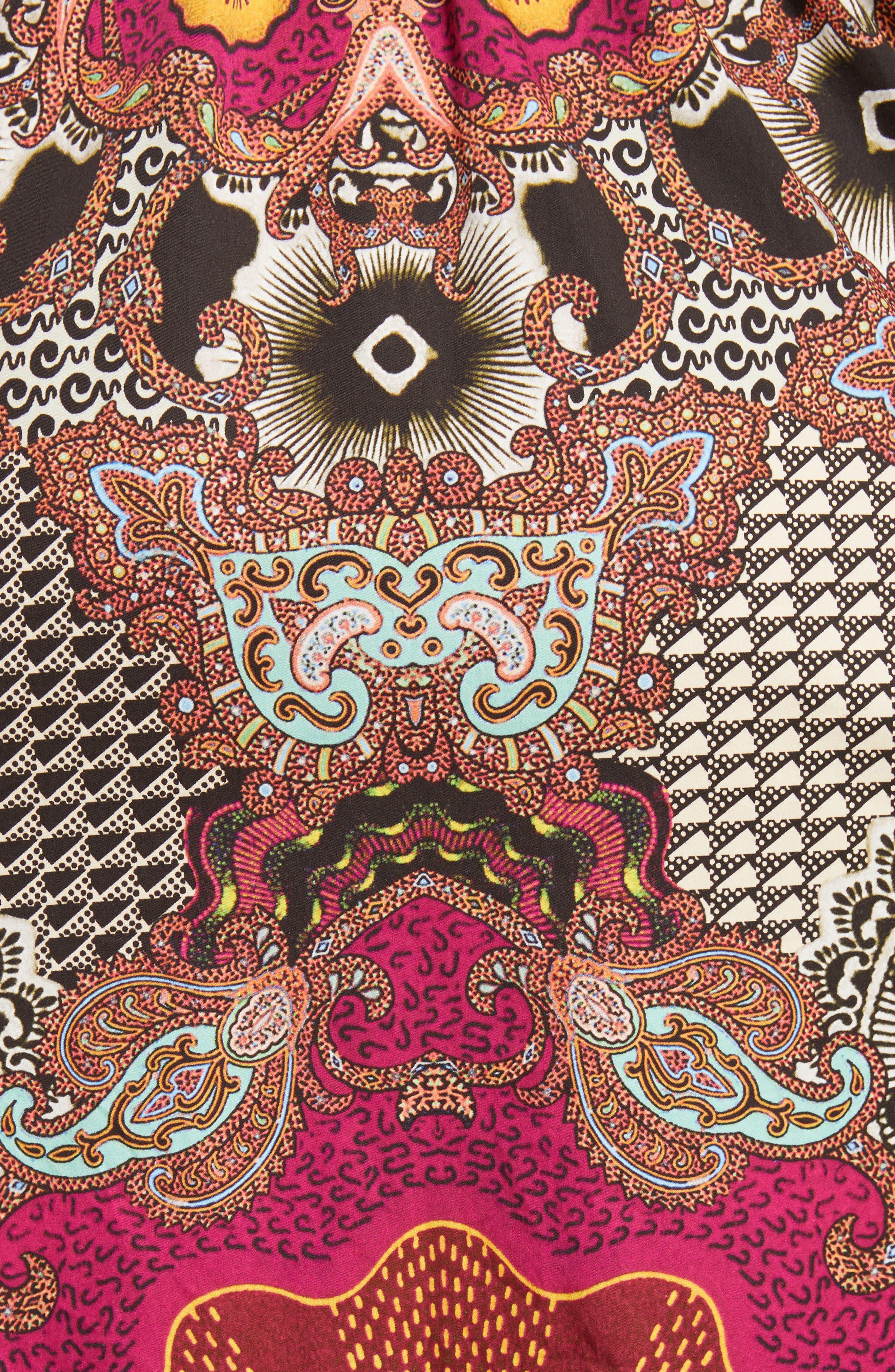 Jungle Paisley Print Cotton Dress,                             Alternate thumbnail 6, color,                             Black