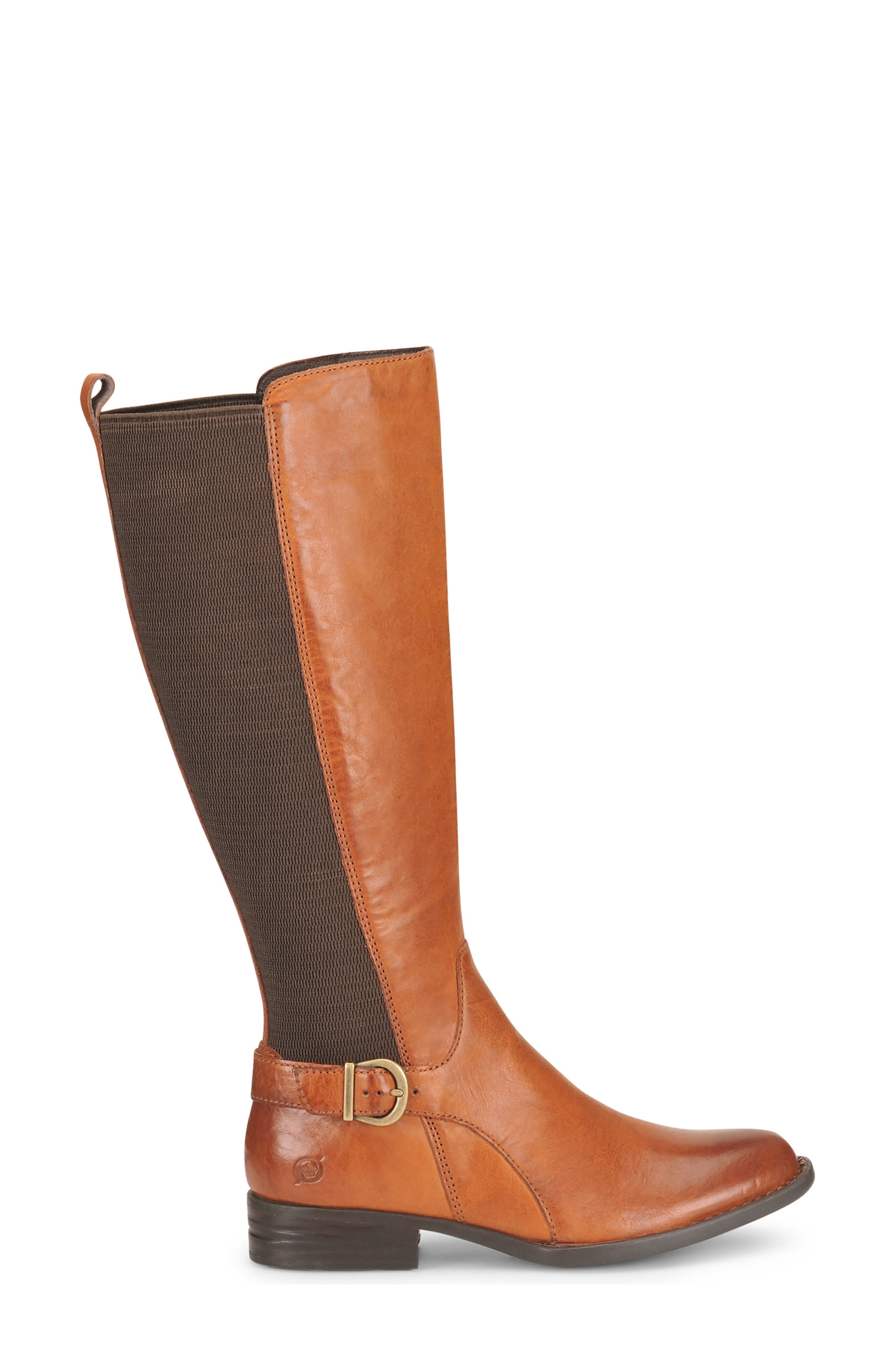 Campbell Knee High Elastic Back Boot,                             Alternate thumbnail 3, color,                             Tan Leather