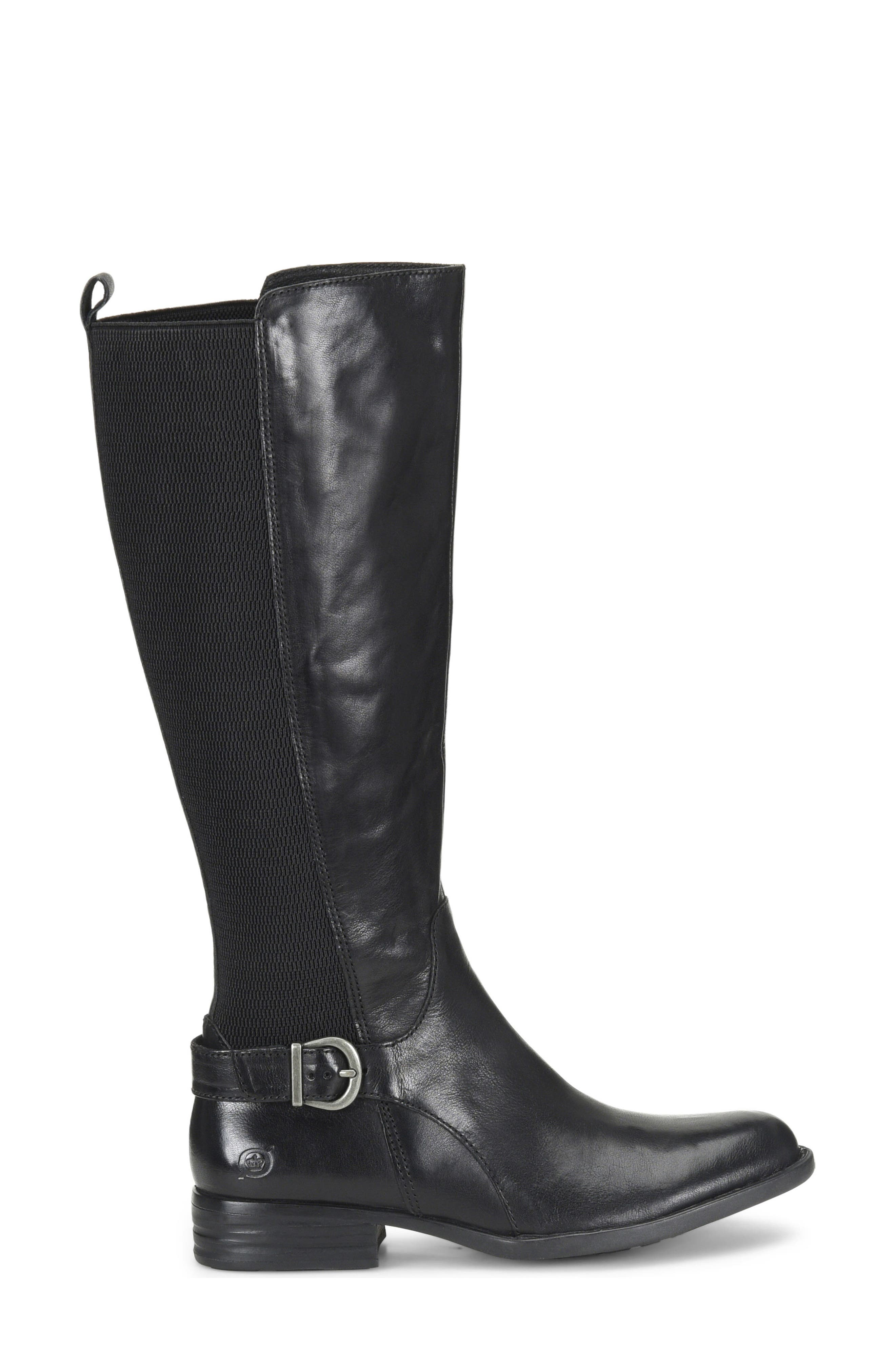 Campbell Knee High Elastic Back Boot,                             Alternate thumbnail 3, color,                             Black Leather