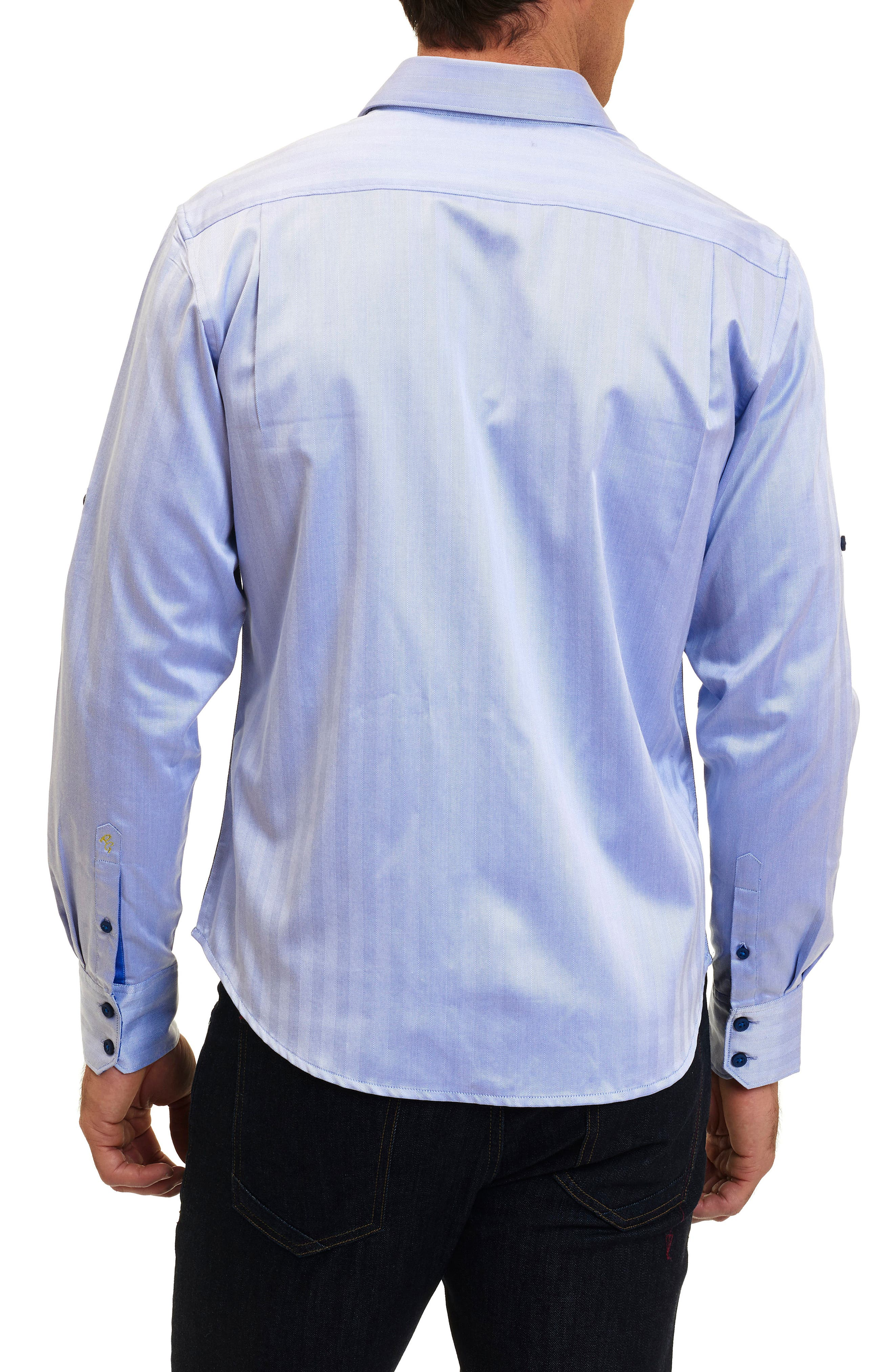 Canton Classic Fit Herringbone Sport Shirt,                             Alternate thumbnail 2, color,                             Cobalt