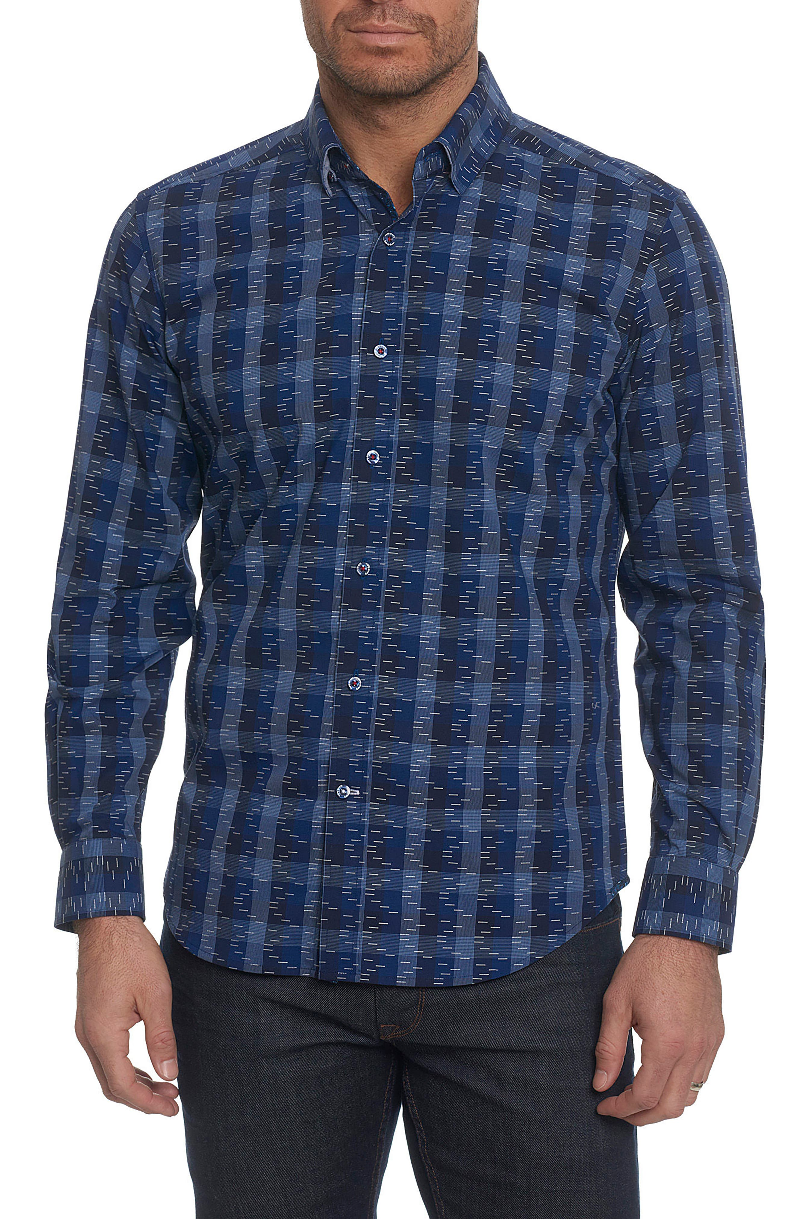 Tailored Fit Print Sport Shirt,                         Main,                         color, Navy