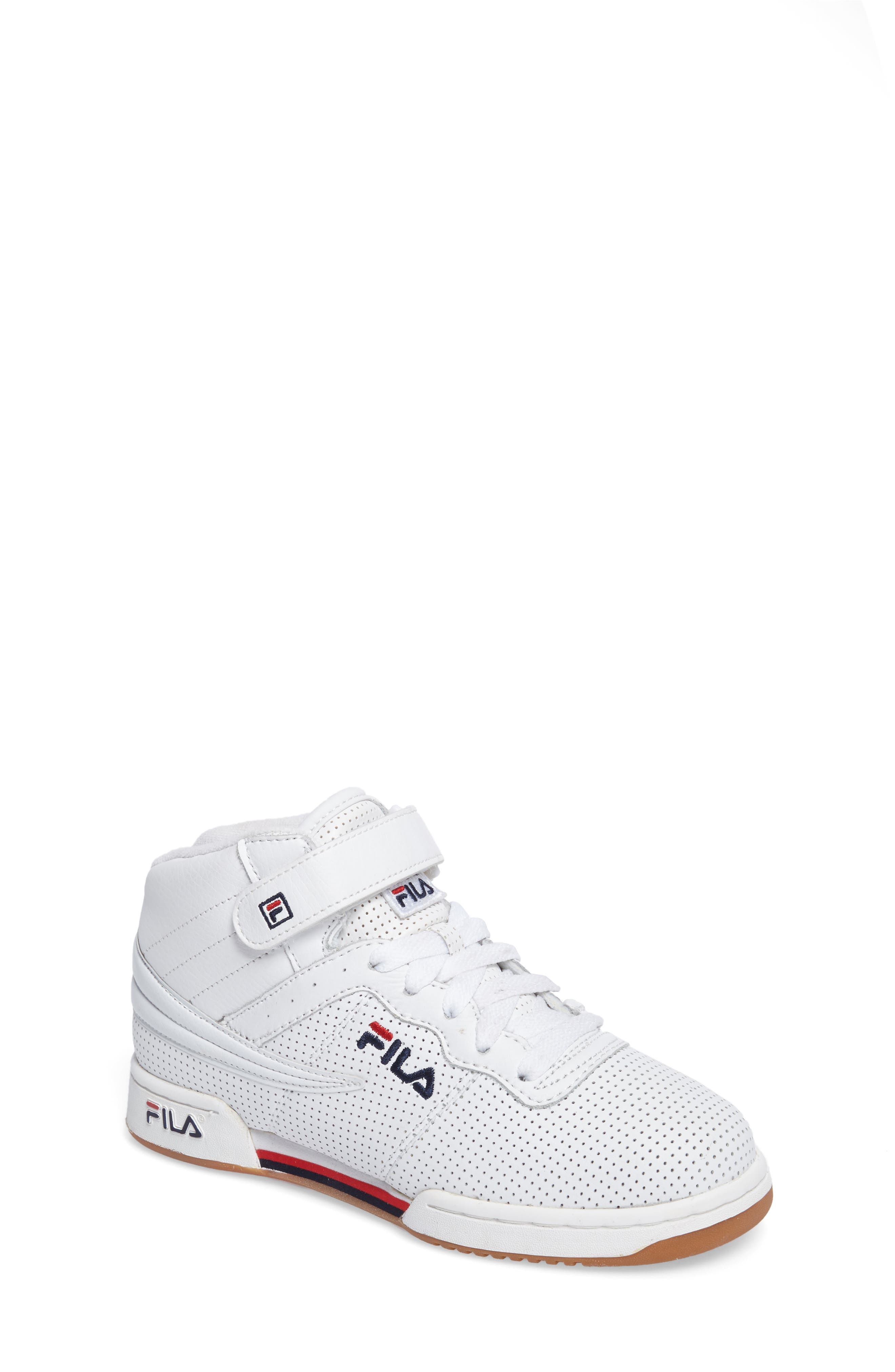 F-13 Perforated High Top Sneaker,                             Main thumbnail 1, color,                             White/Navy/Red