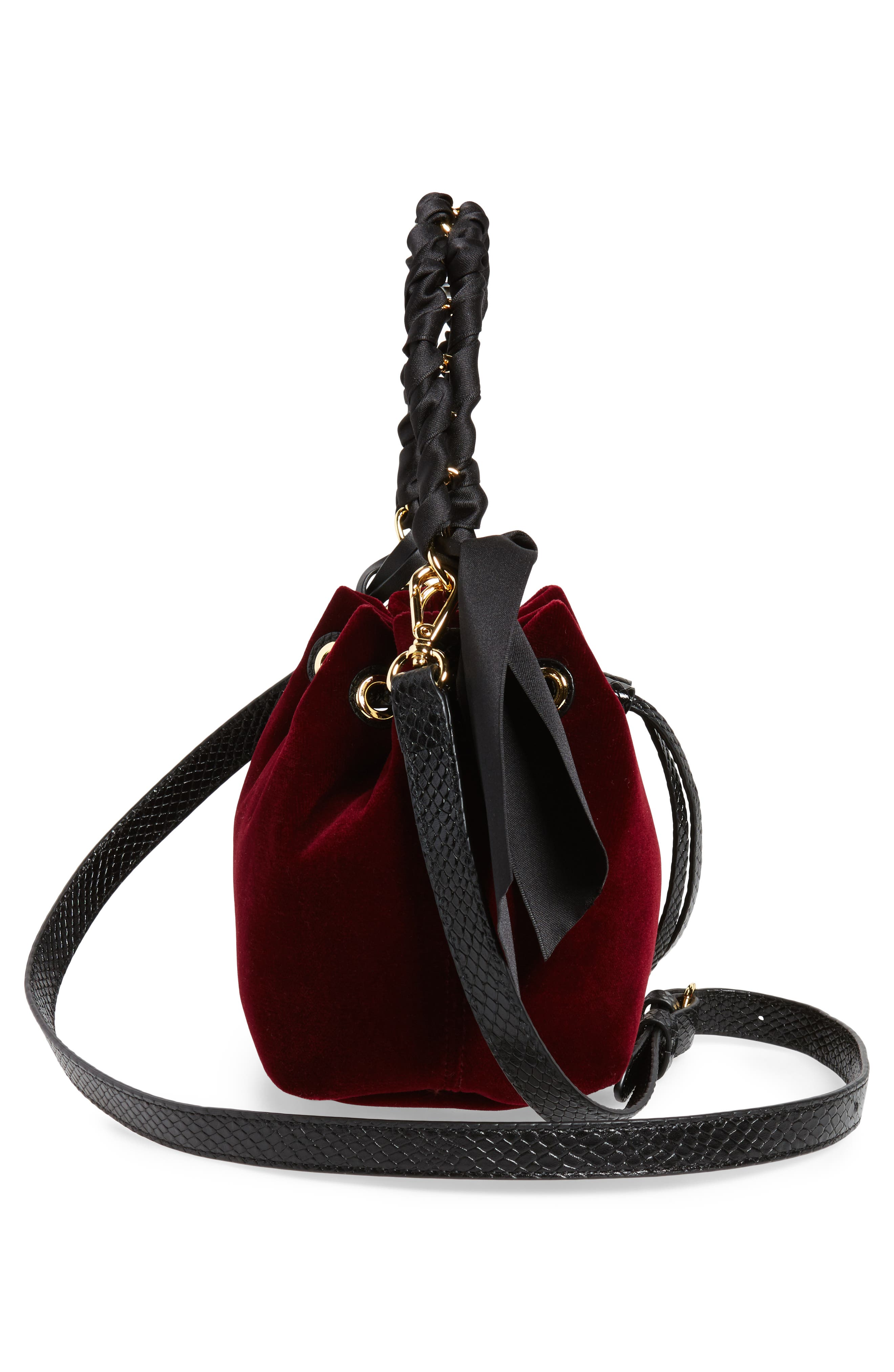 Small Velvet Bucket Bag,                             Alternate thumbnail 4, color,                             Burgundy