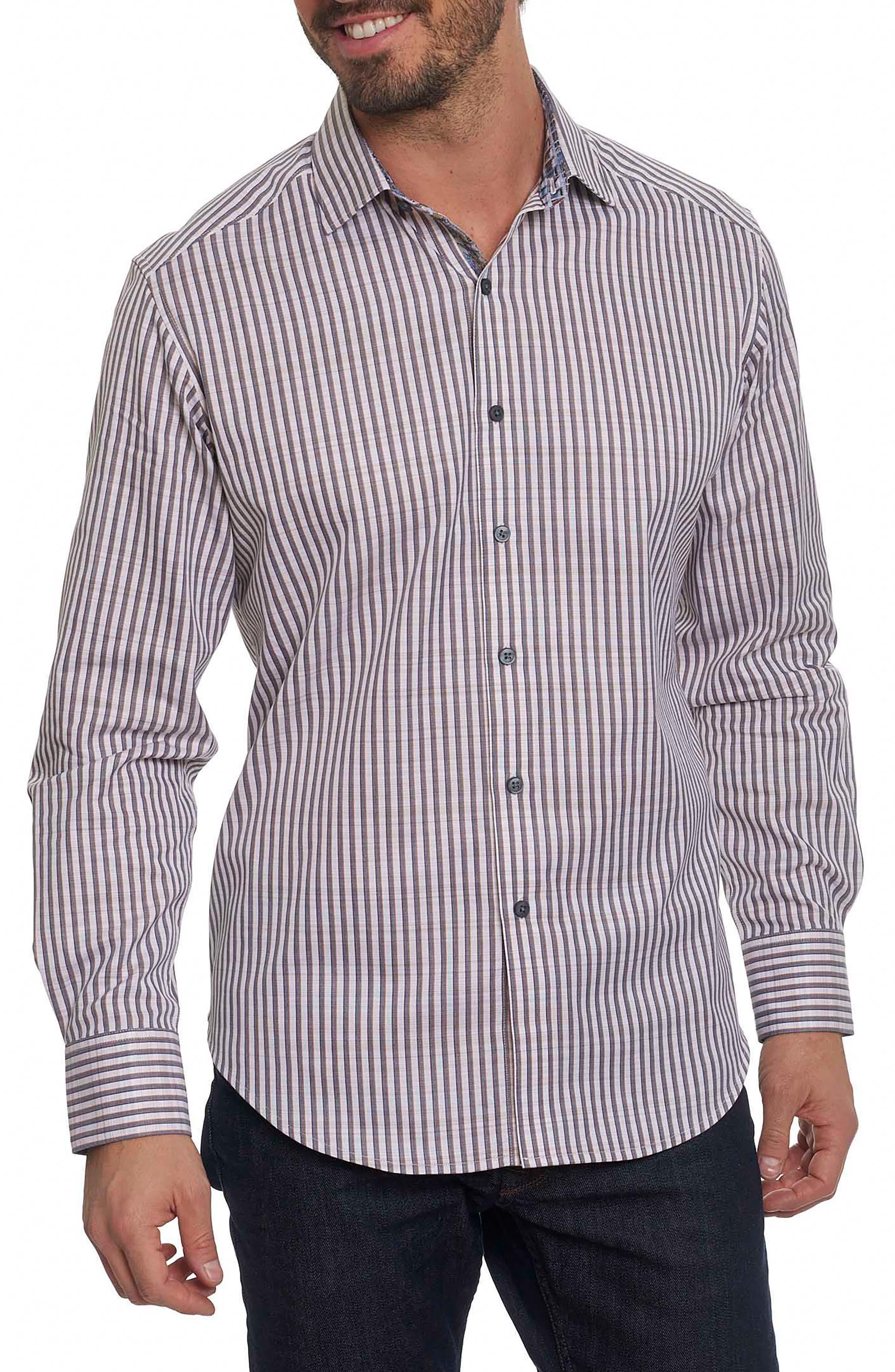 Marion Classic Fit Stripe Sport Shirt,                         Main,                         color, Cream