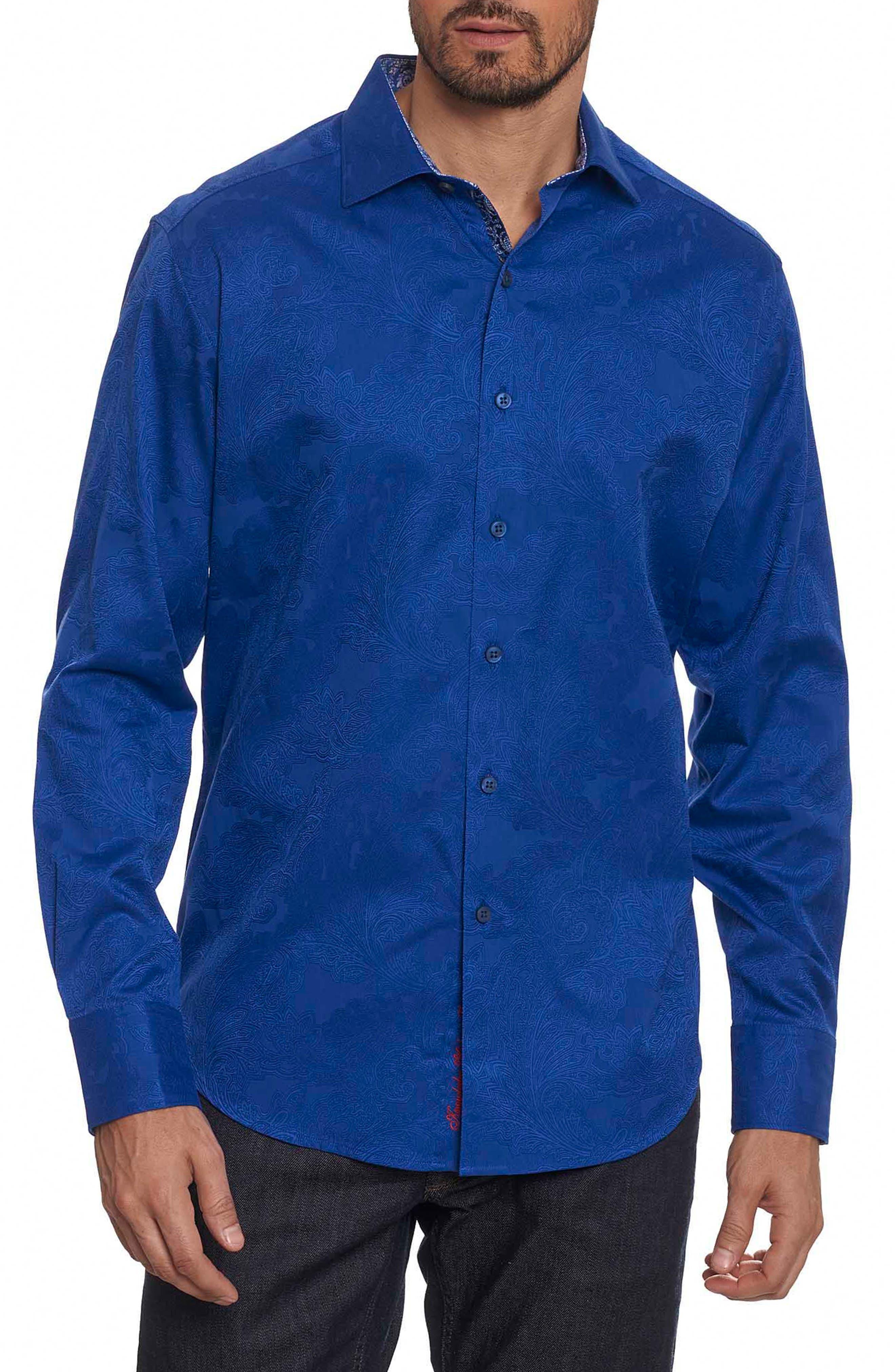 Rosendale Classic Fit Jacquard Sport Shirt,                         Main,                         color, Cobalt