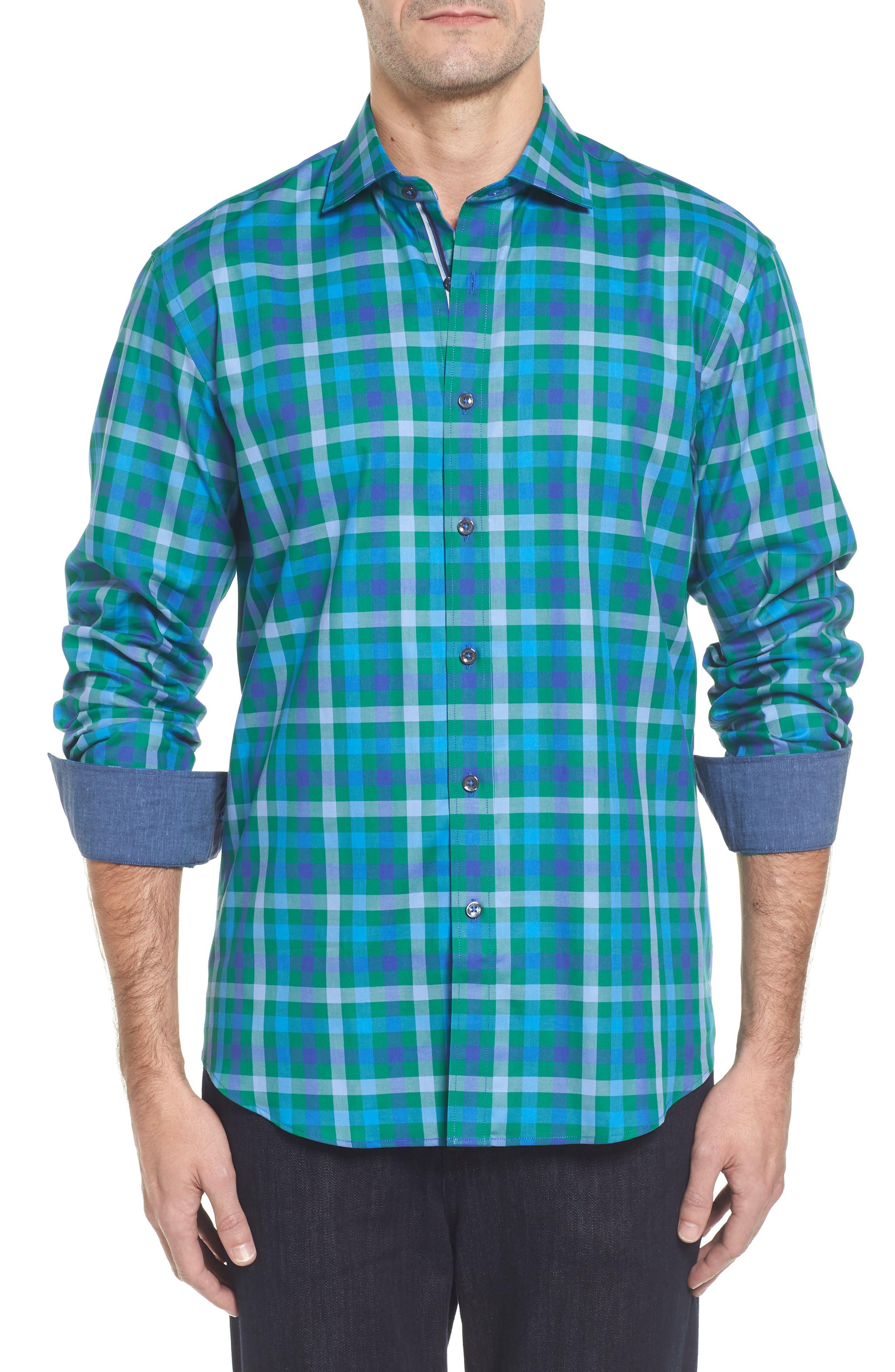 Shaped Fit Plaid Sport Shirt,                         Main,                         color, Emerald
