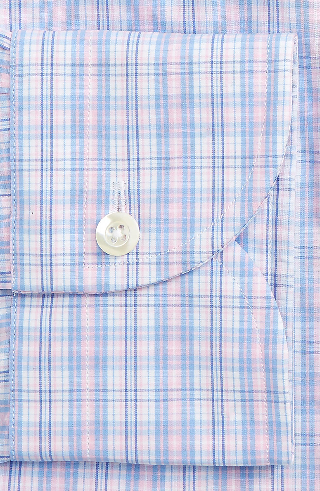 Slim Fit Plaid Dress Shirt,                             Alternate thumbnail 2, color,                             Pink