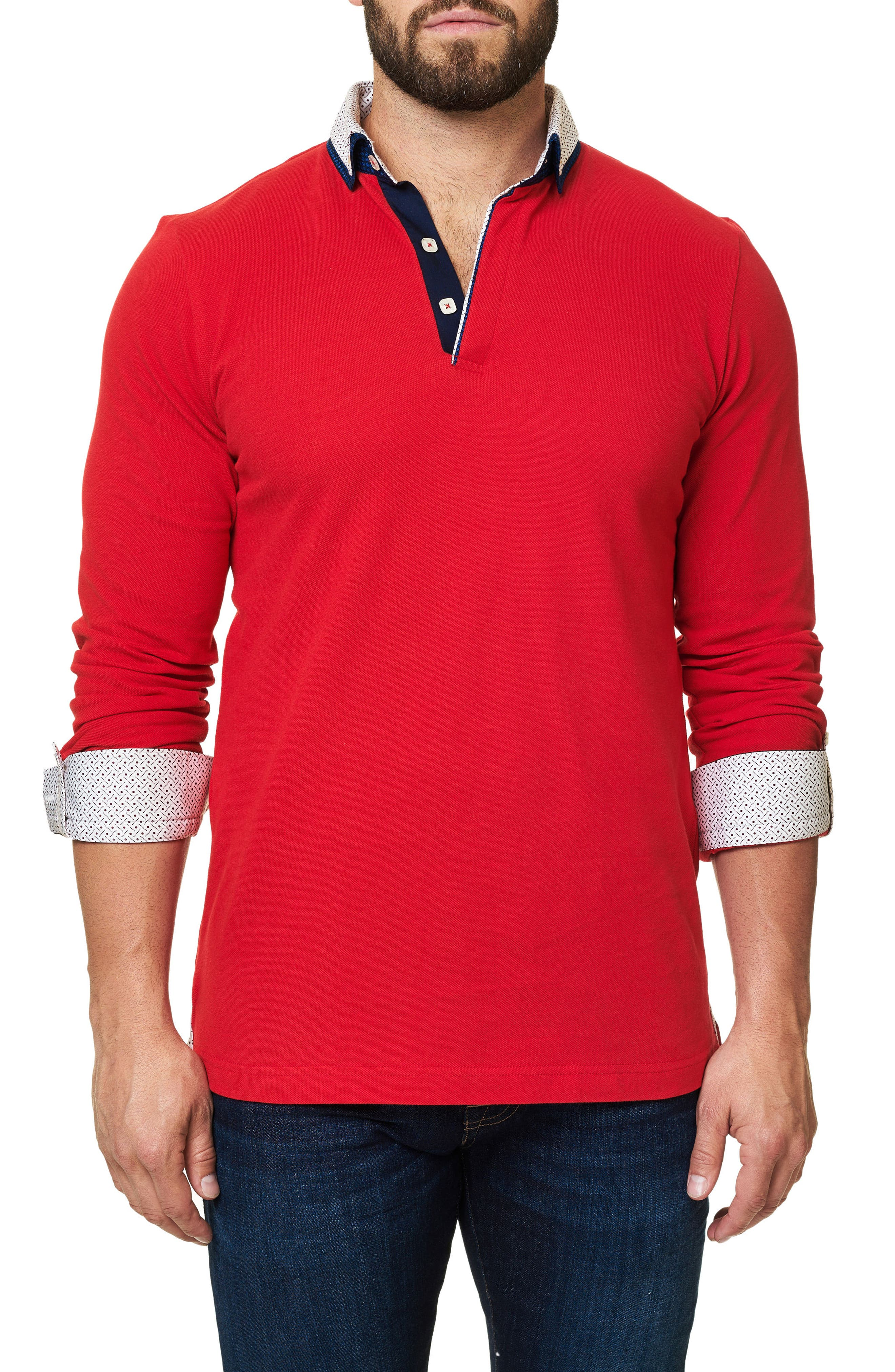 Long Sleeve Polo,                             Alternate thumbnail 4, color,                             Medium Red