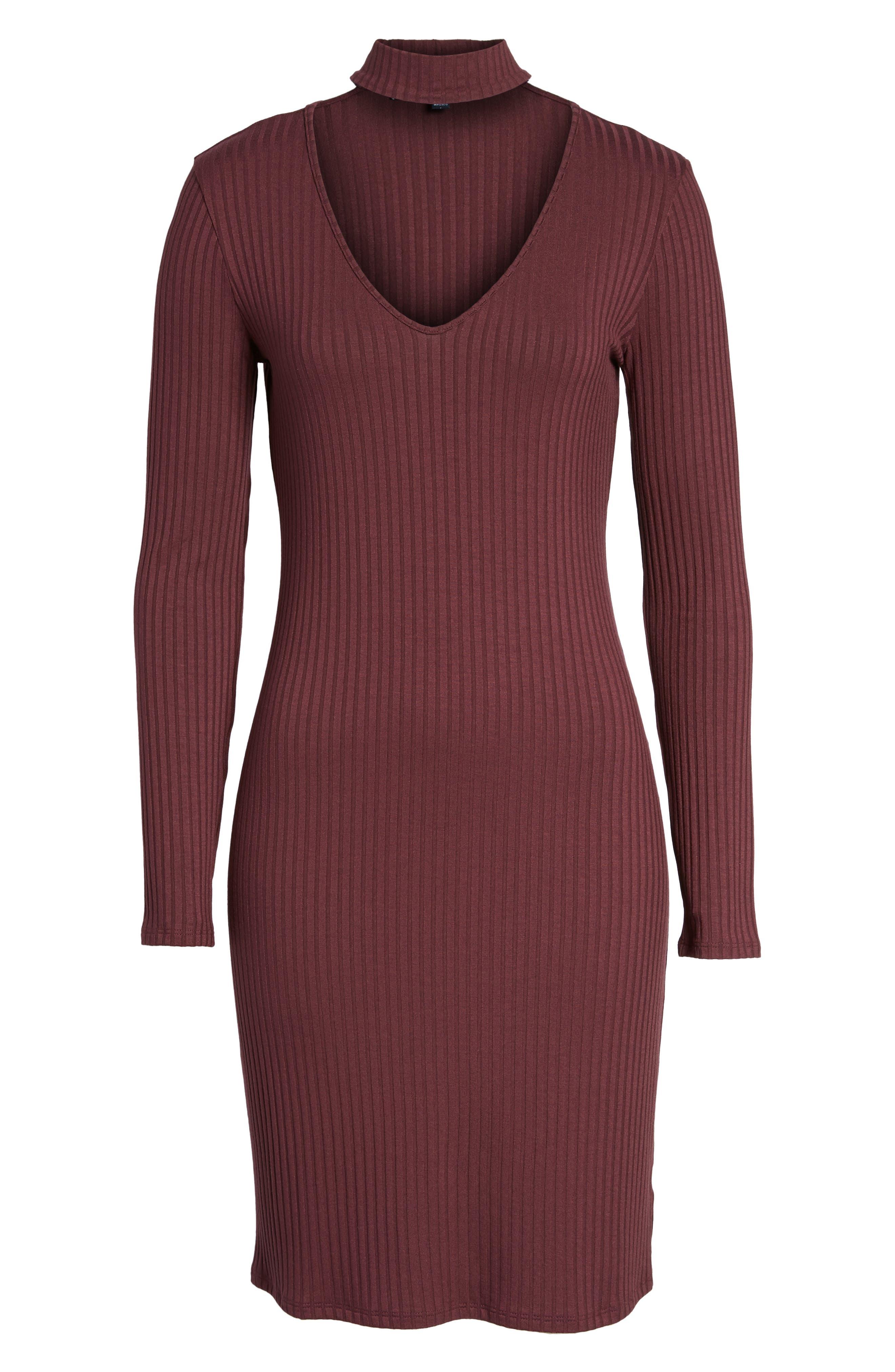 Ribbed Choker Dress,                             Alternate thumbnail 6, color,                             Red Tannin