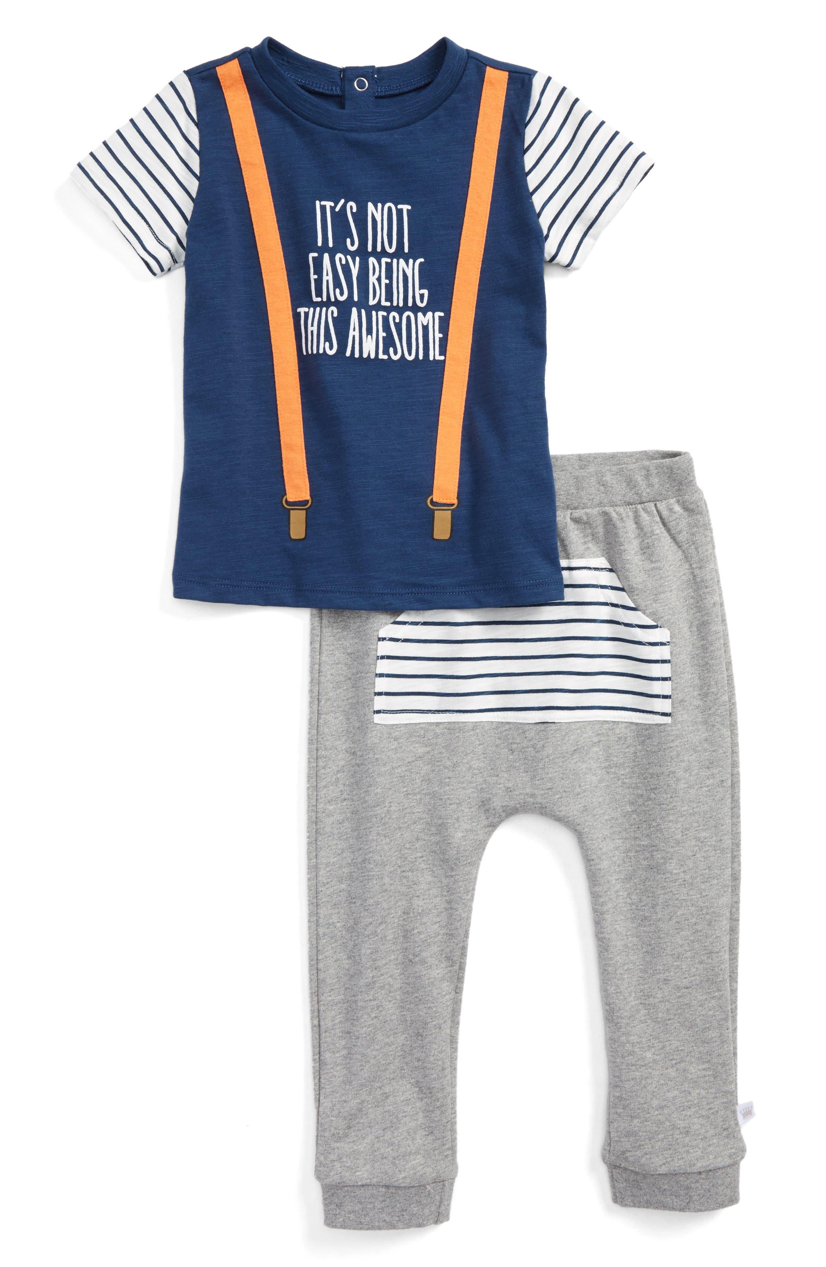 Main Image - Rosie Pope Suspender Shirt & Sweatpants Set (Baby Boys)