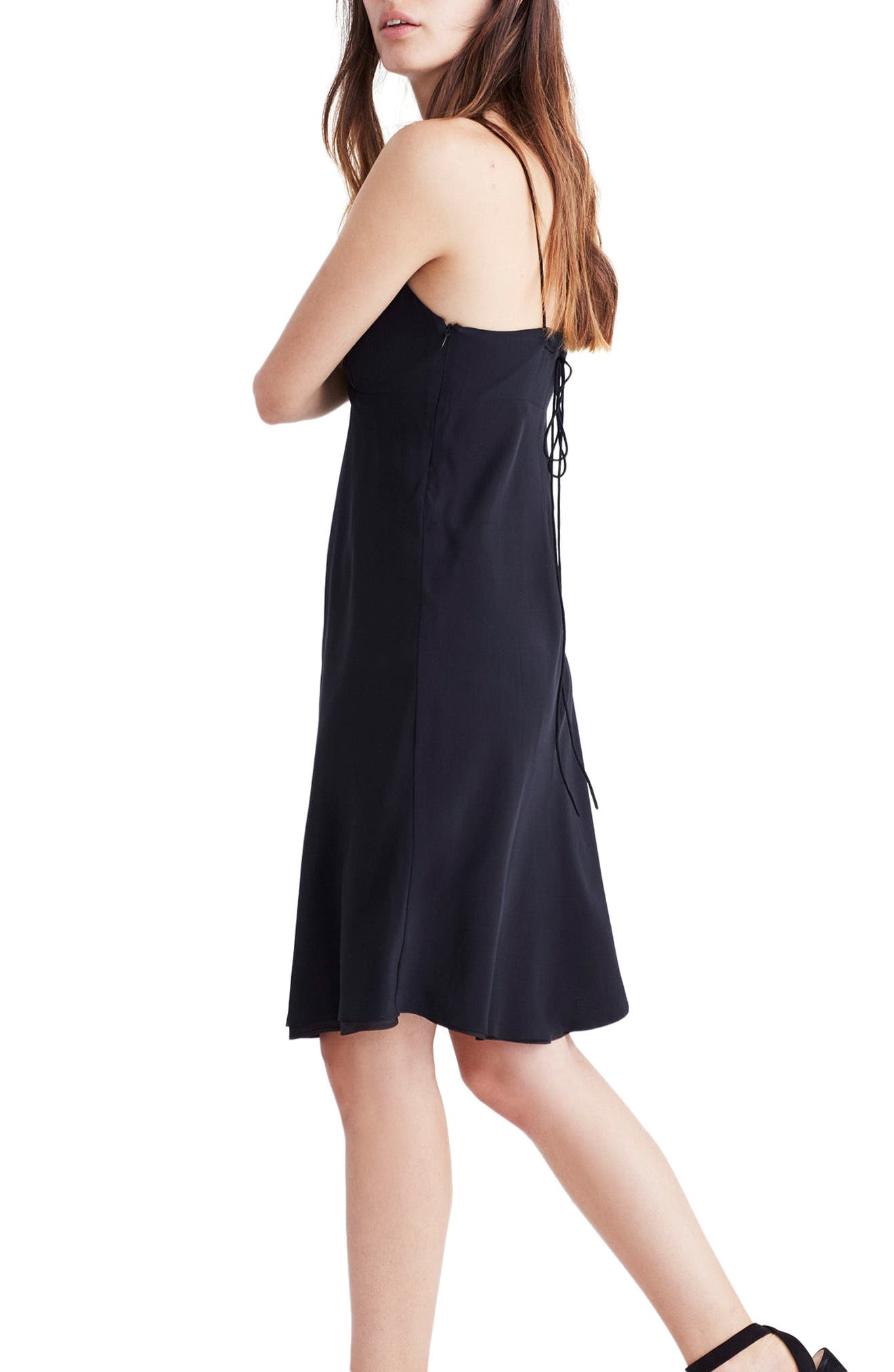 Tie Back Slipdress,                             Alternate thumbnail 3, color,                             True Black
