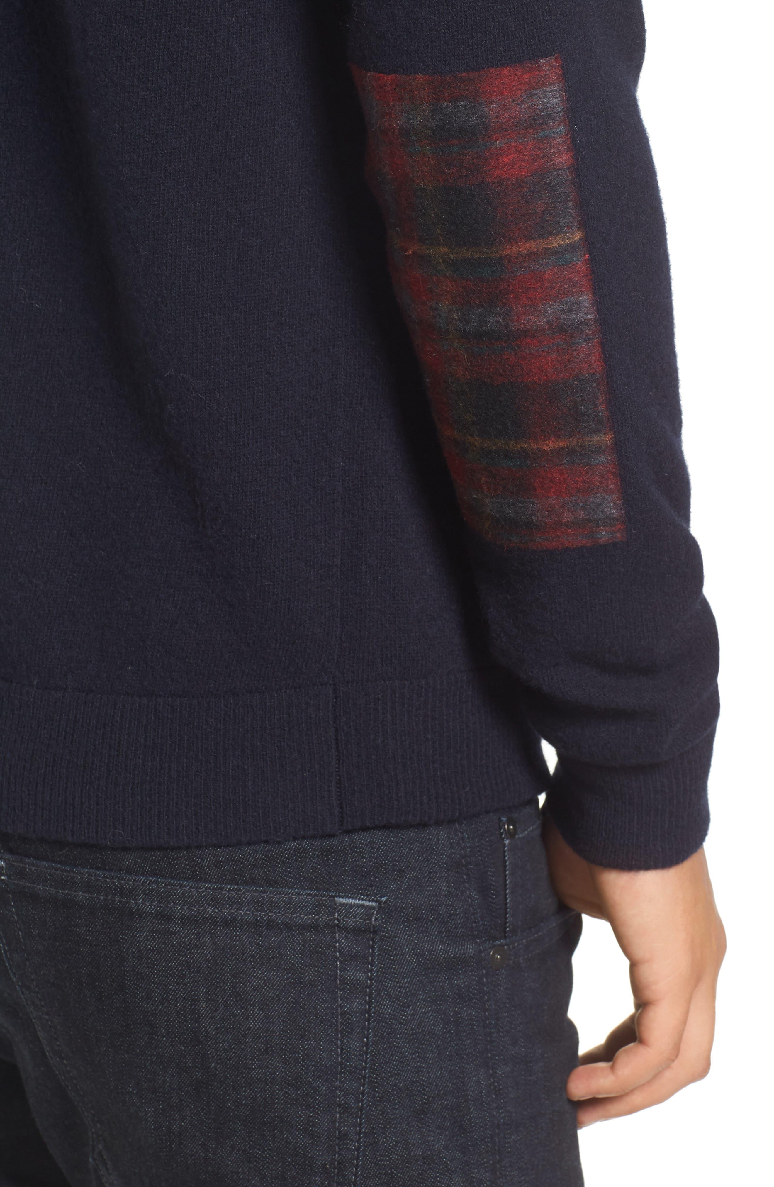 Crewneck Wool Sweater,                             Alternate thumbnail 4, color,                             Marine Blue/ Tartan