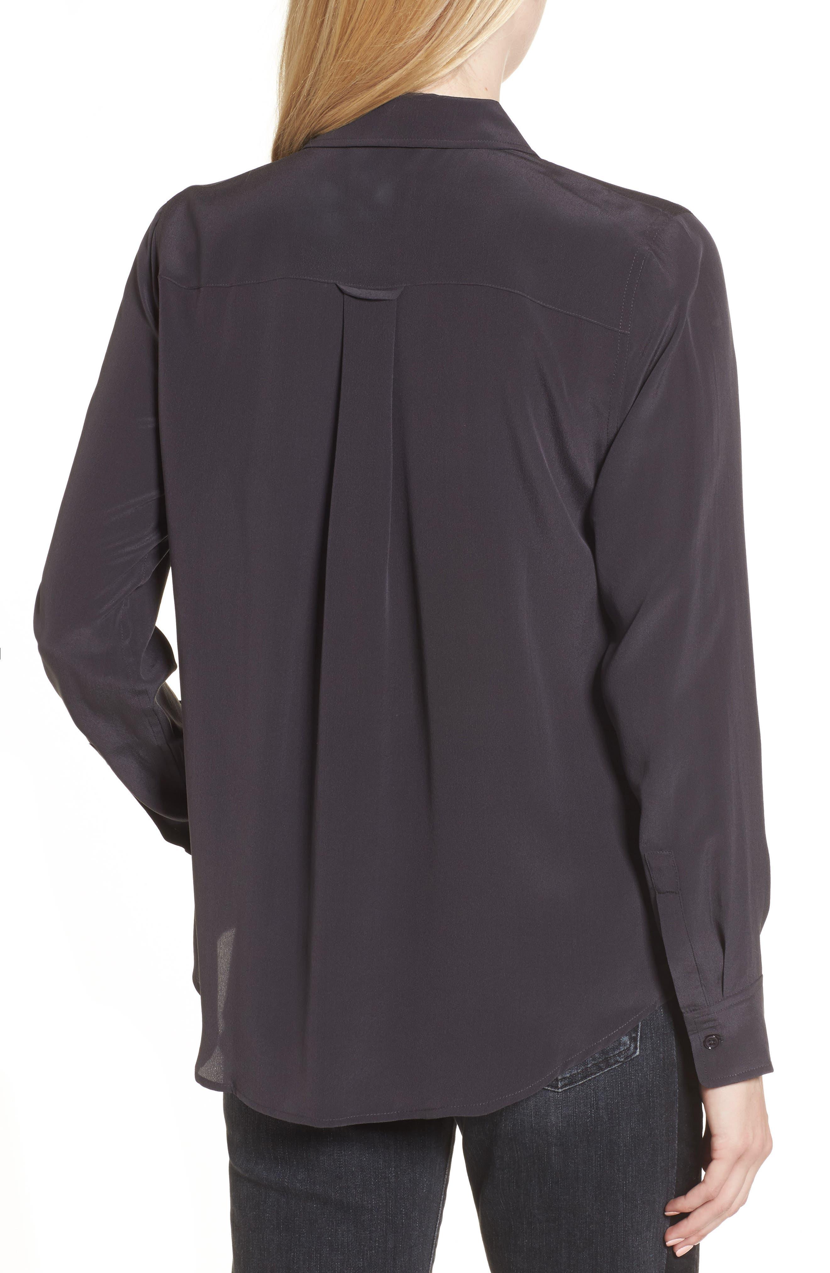 Kate Silk Shirt,                             Alternate thumbnail 2, color,                             Charcoal