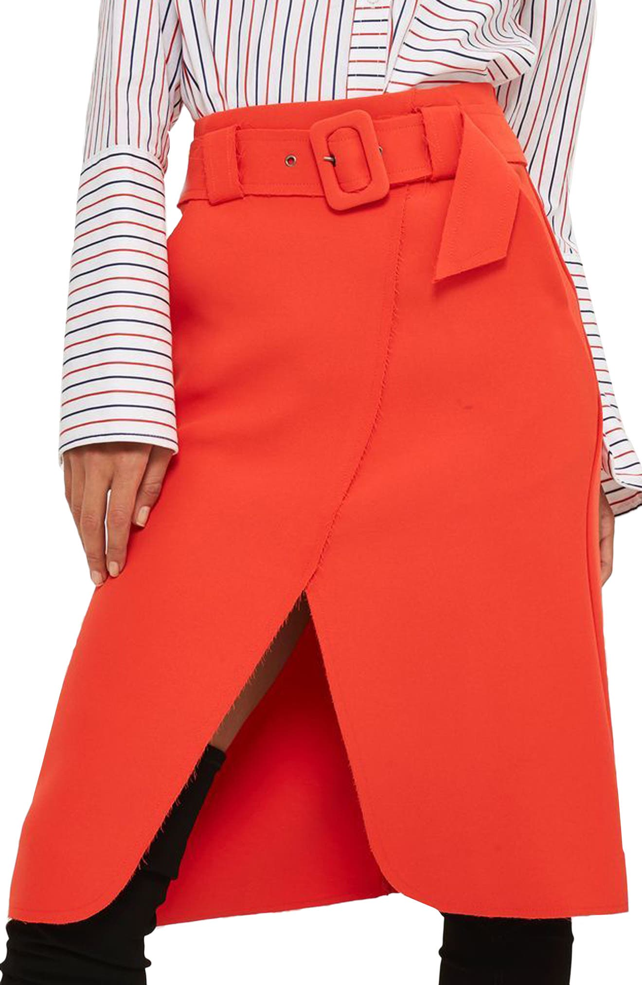 Alternate Image 3  - Topshop Belted Curve Faux Wrap Skirt