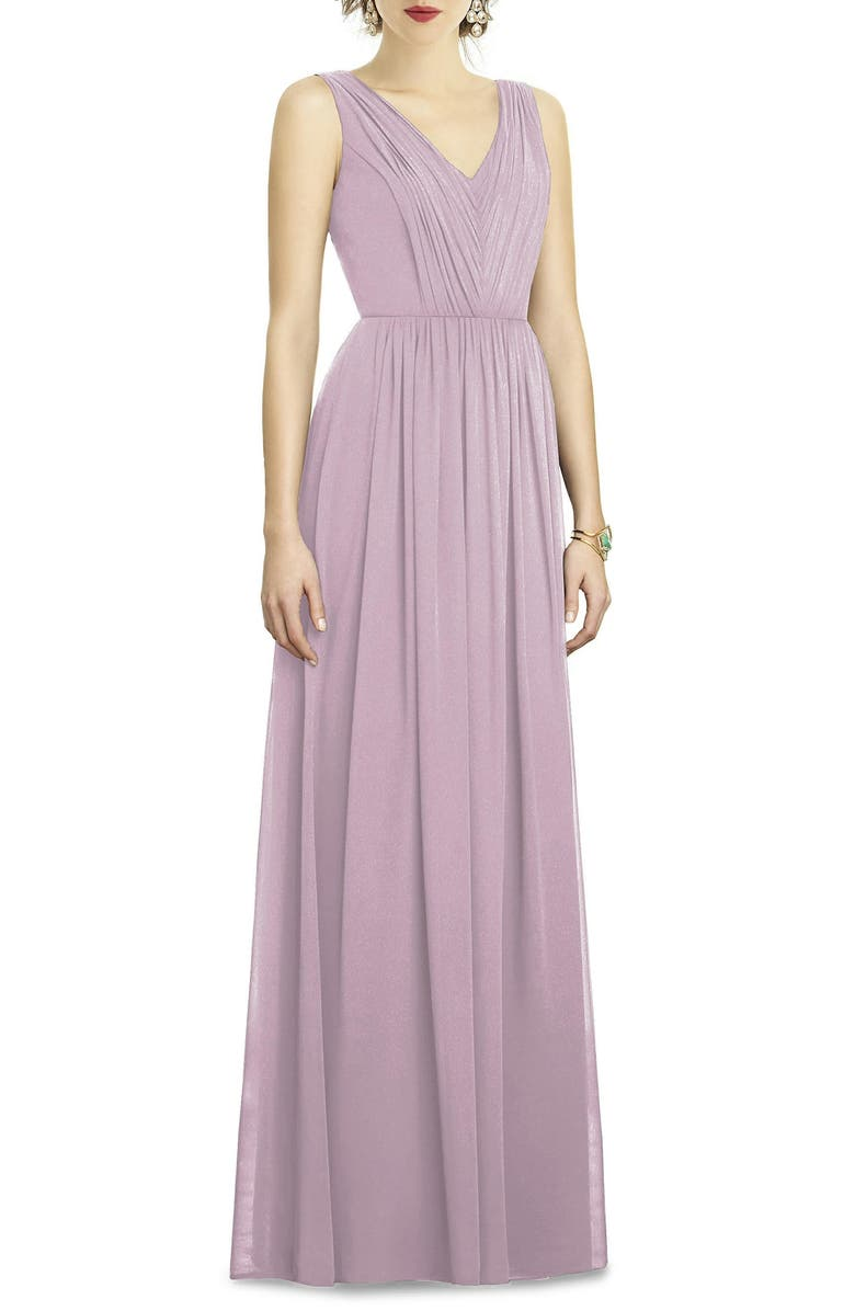 Shirred Shimmer Chiffon Gown