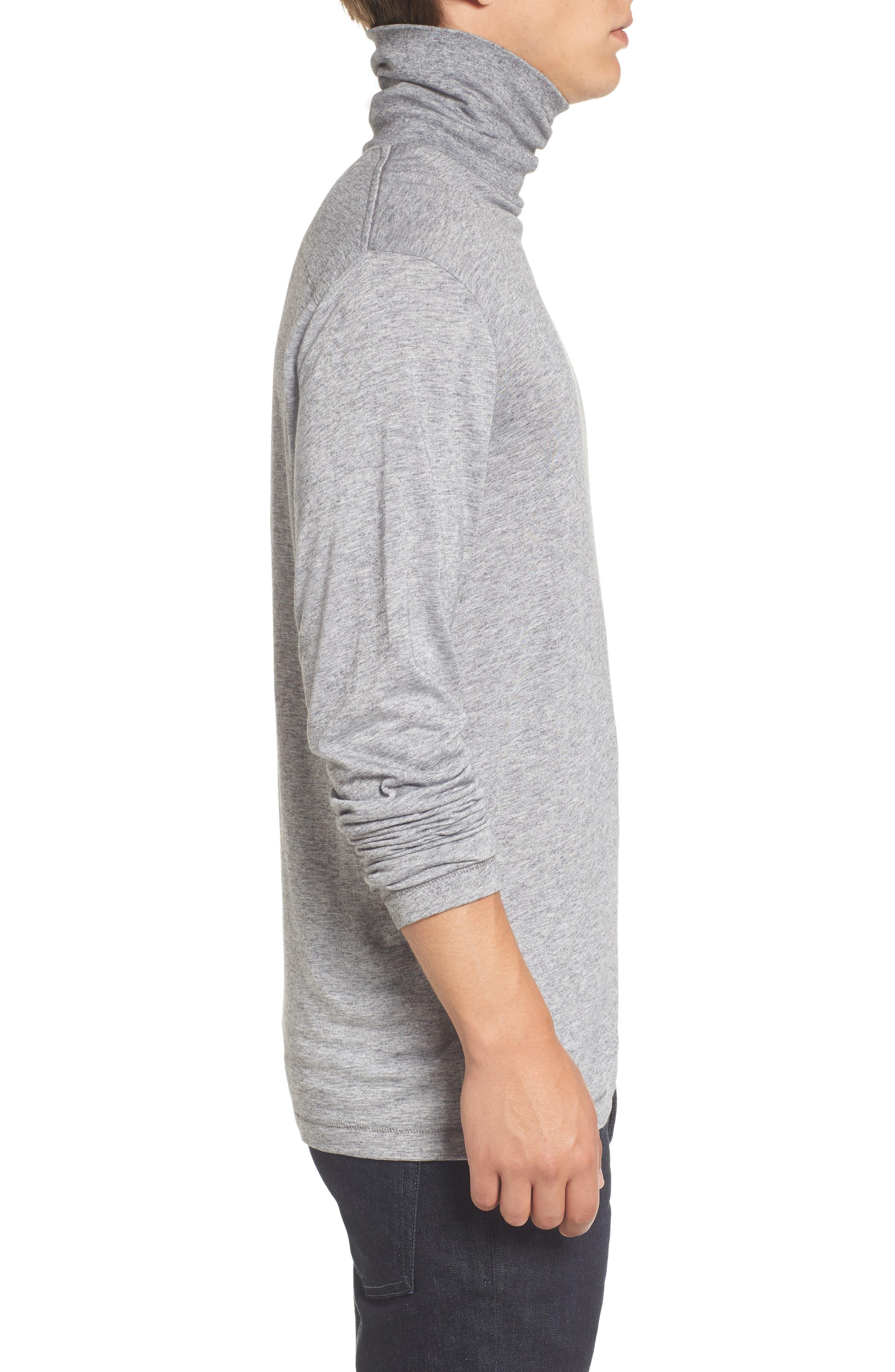 Lightweight Turtleneck Sweater,                             Alternate thumbnail 3, color,                             Grey Melange