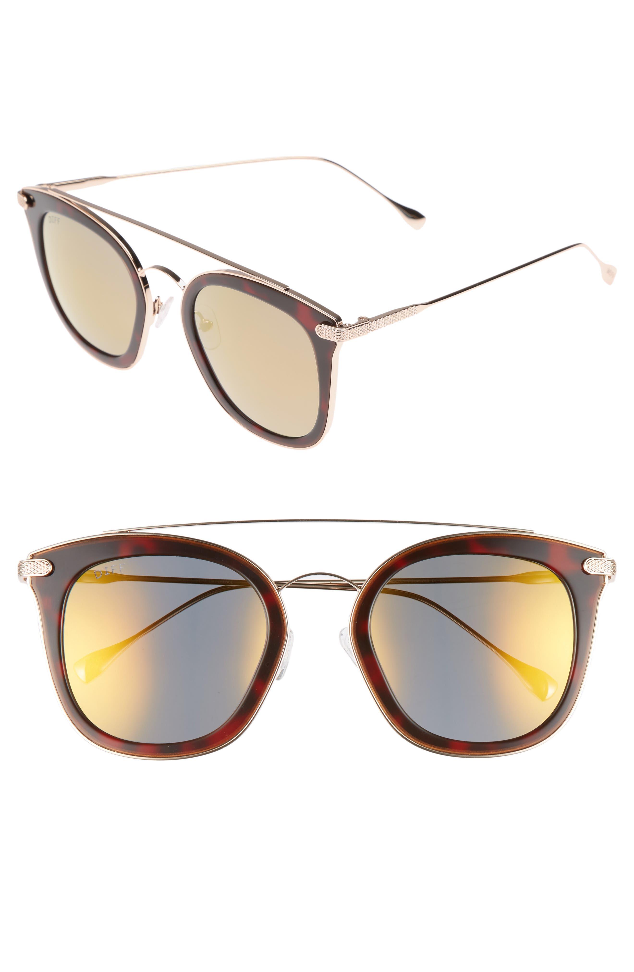 Zoey 51mm Polarized Sunglasses,                         Main,                         color, Tortoise/ Gold