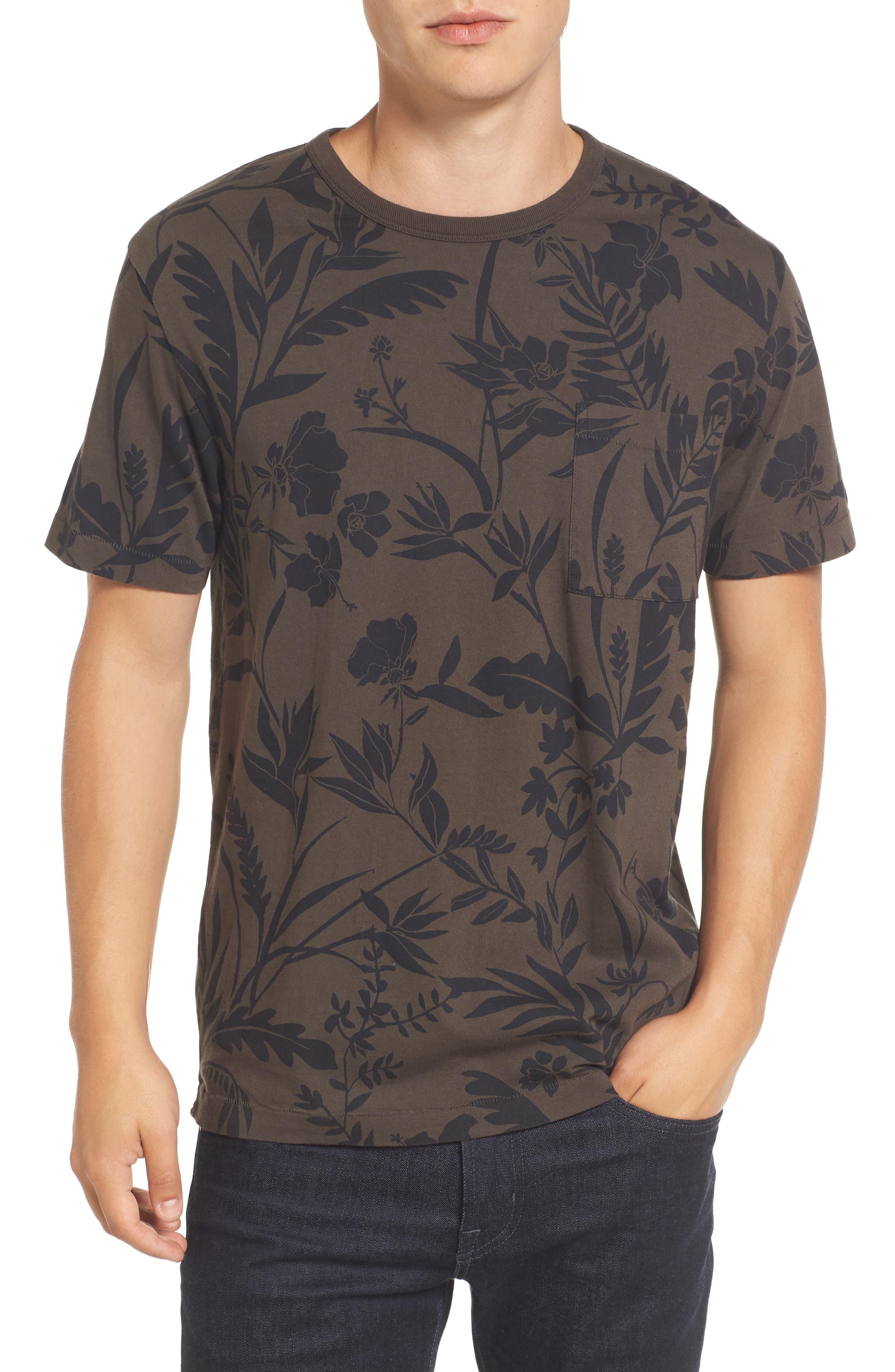 Floral Print T-Shirt,                         Main,                         color, Black Olive/ Marine Blue