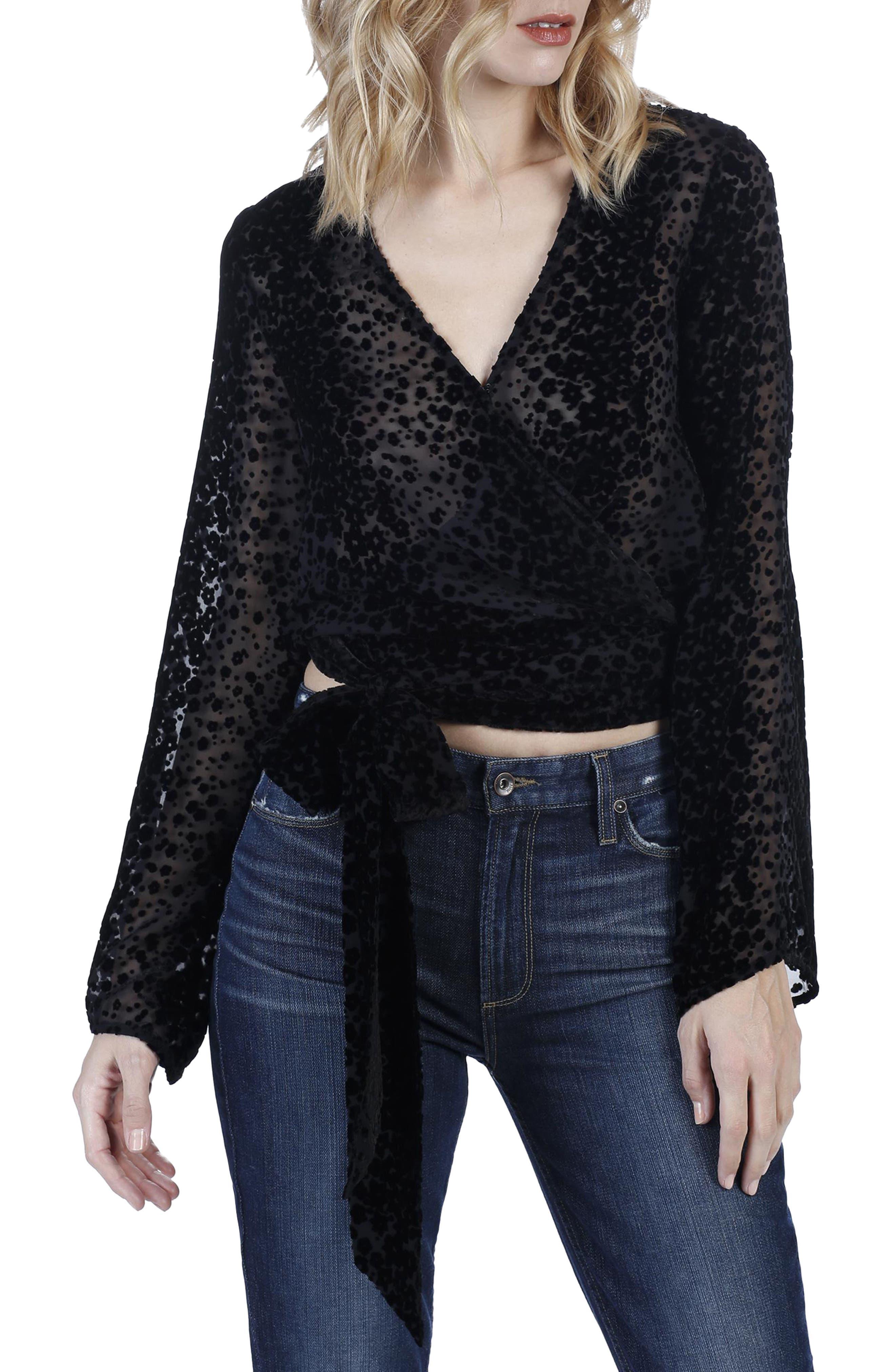Main Image - PAIGE Jenna Burnout Velvet Silk Wrap Top