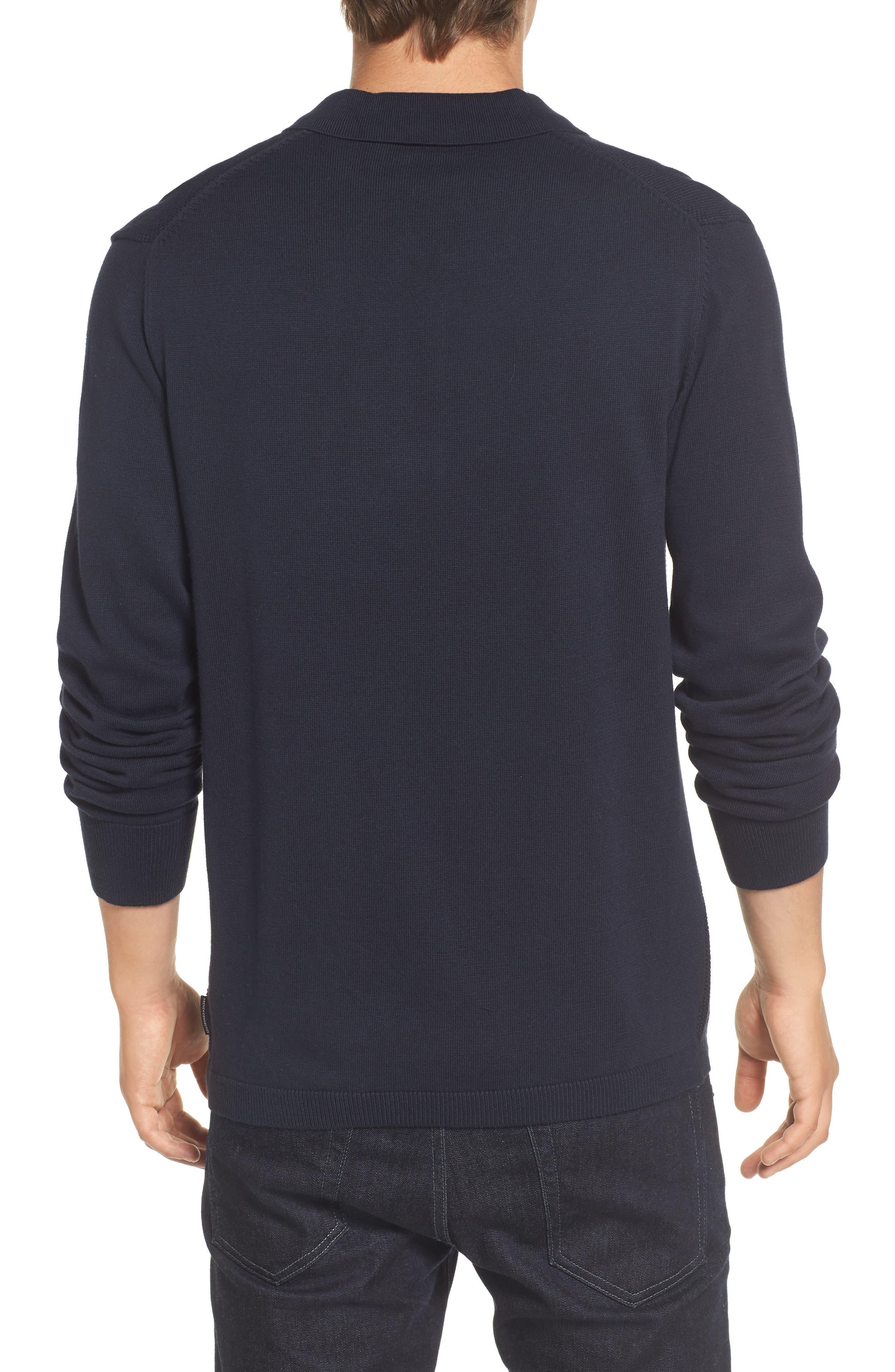 Textured Long Sleeve Polo,                             Alternate thumbnail 2, color,                             Marine Blue