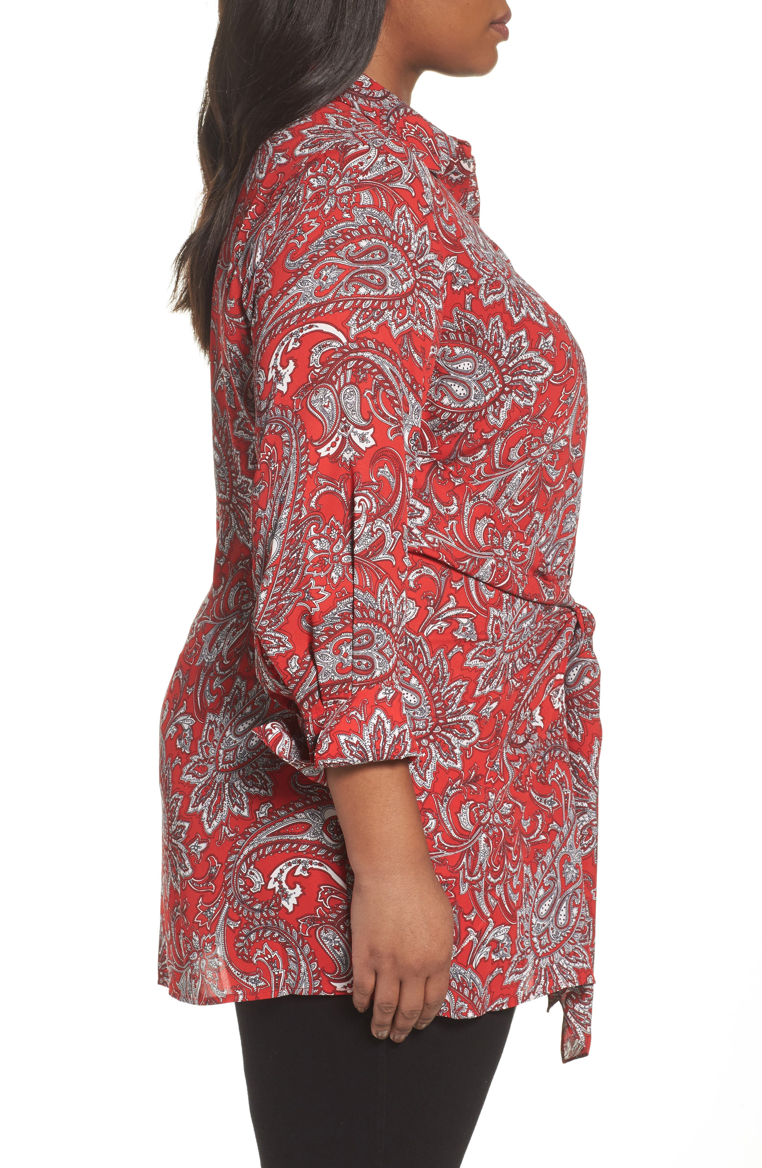 Serena Romantic Paisley Knotted Crepe Tunic Blouse,                             Alternate thumbnail 3, color,                             Red Multi