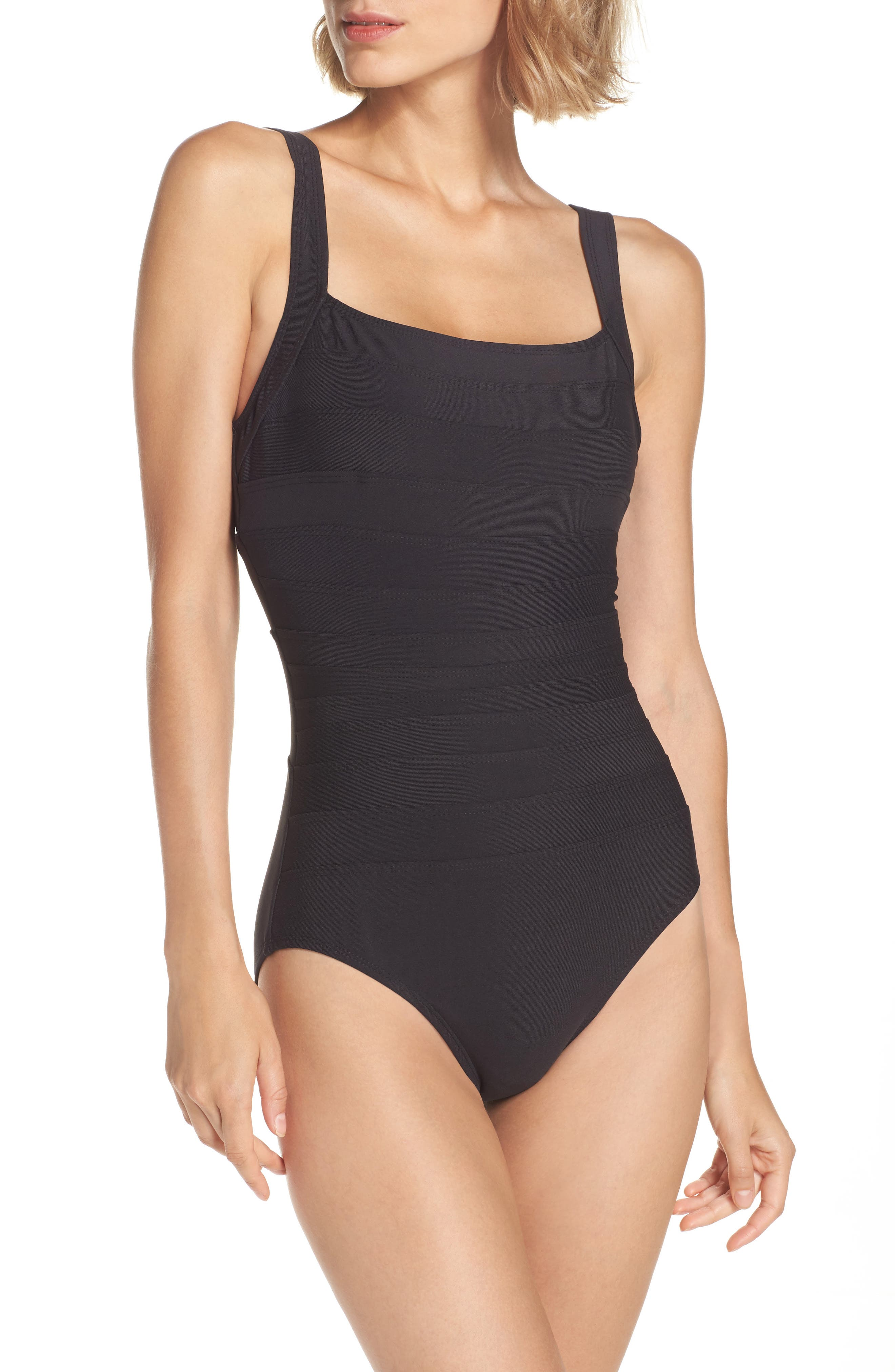 'Spectra' Banded Maillot,                         Main,                         color, Black Tones