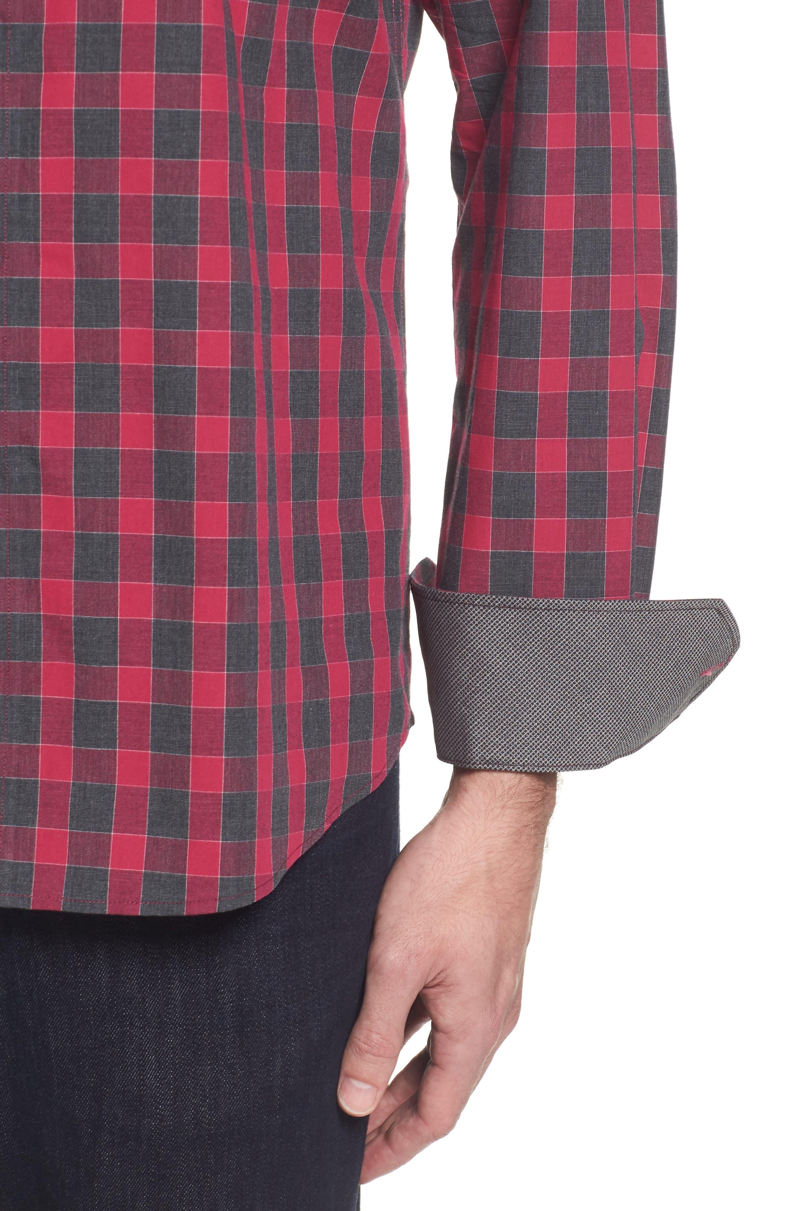 Slim Fit Check Sport Shirt,                             Alternate thumbnail 4, color,                             Fuchsia