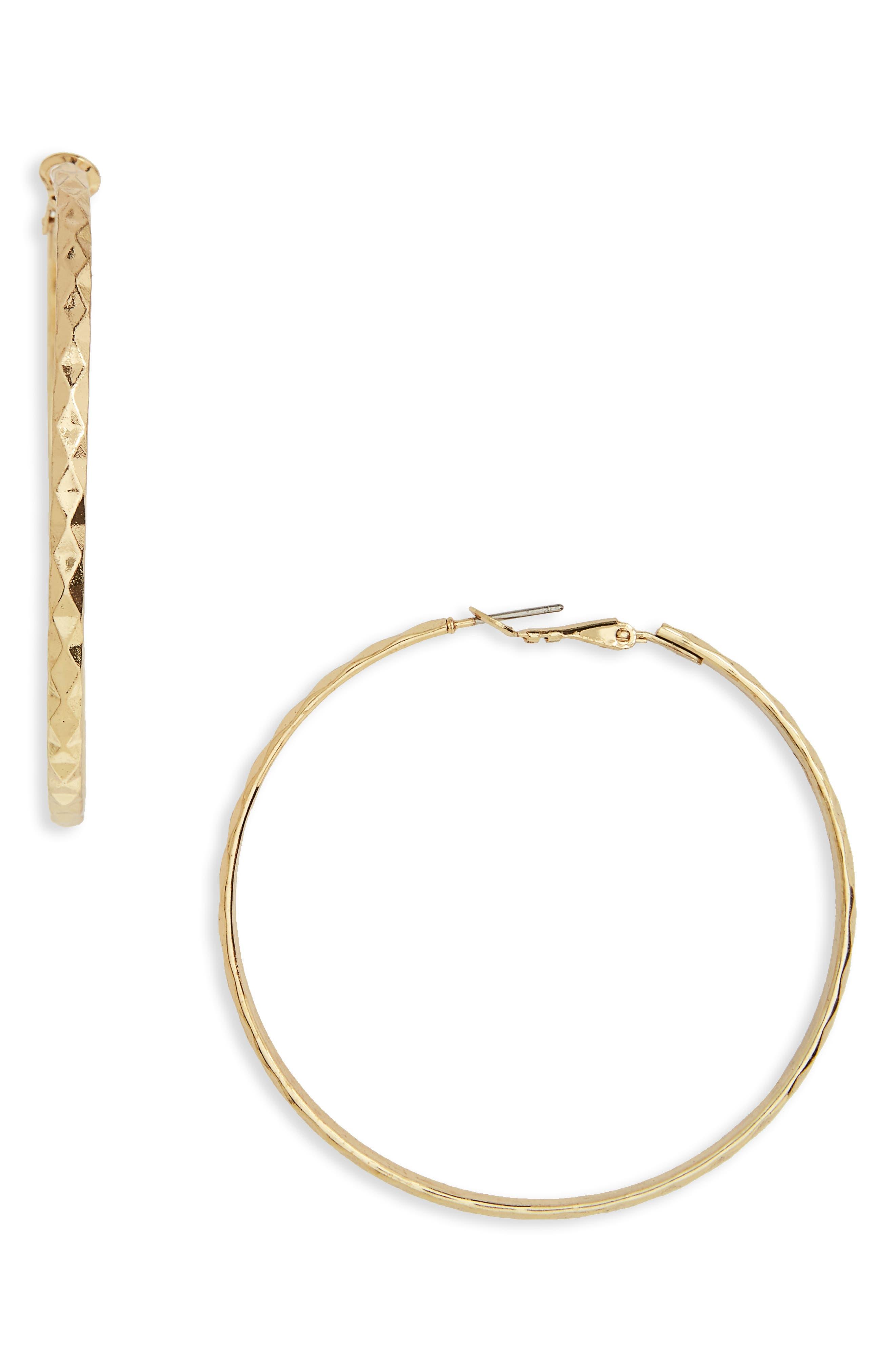 Hammered Hoop Earrings,                             Main thumbnail 1, color,                             Gold