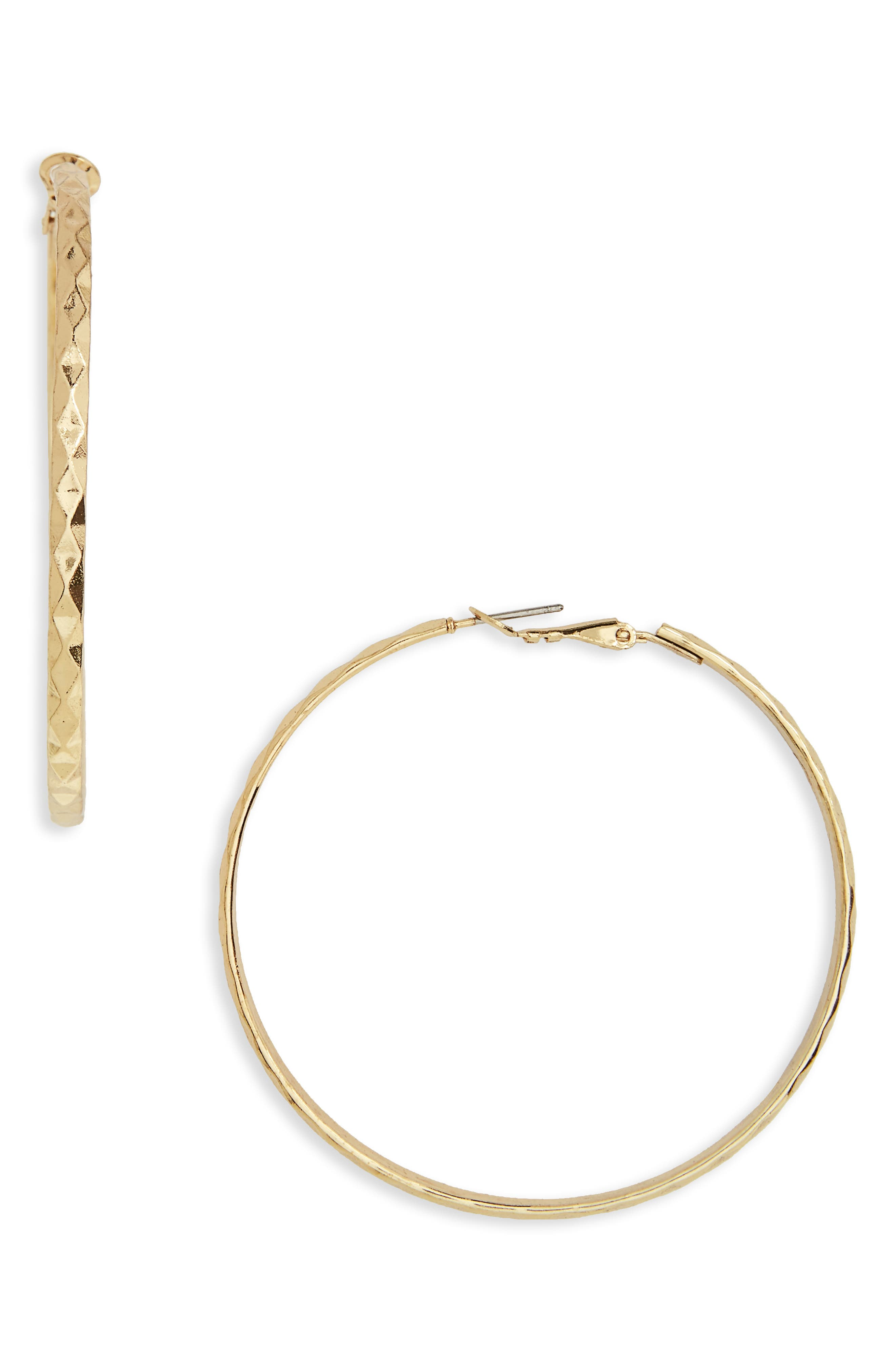 Hammered Hoop Earrings,                         Main,                         color, Gold
