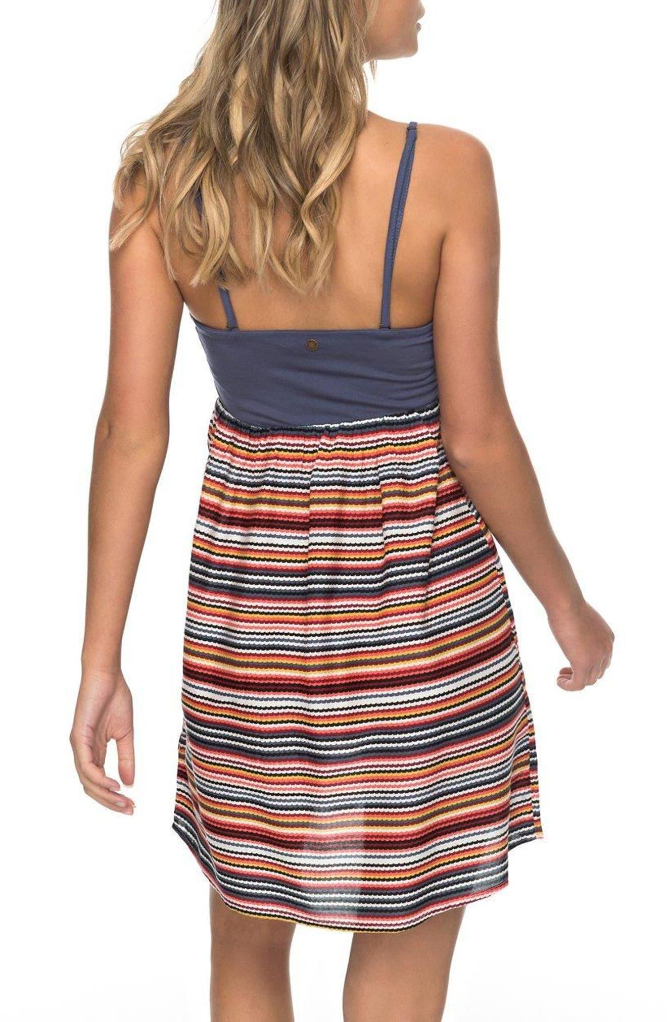 Ocean Romance Strapless Dress,                             Alternate thumbnail 3, color,                             Rio Red Zigzag Stripe