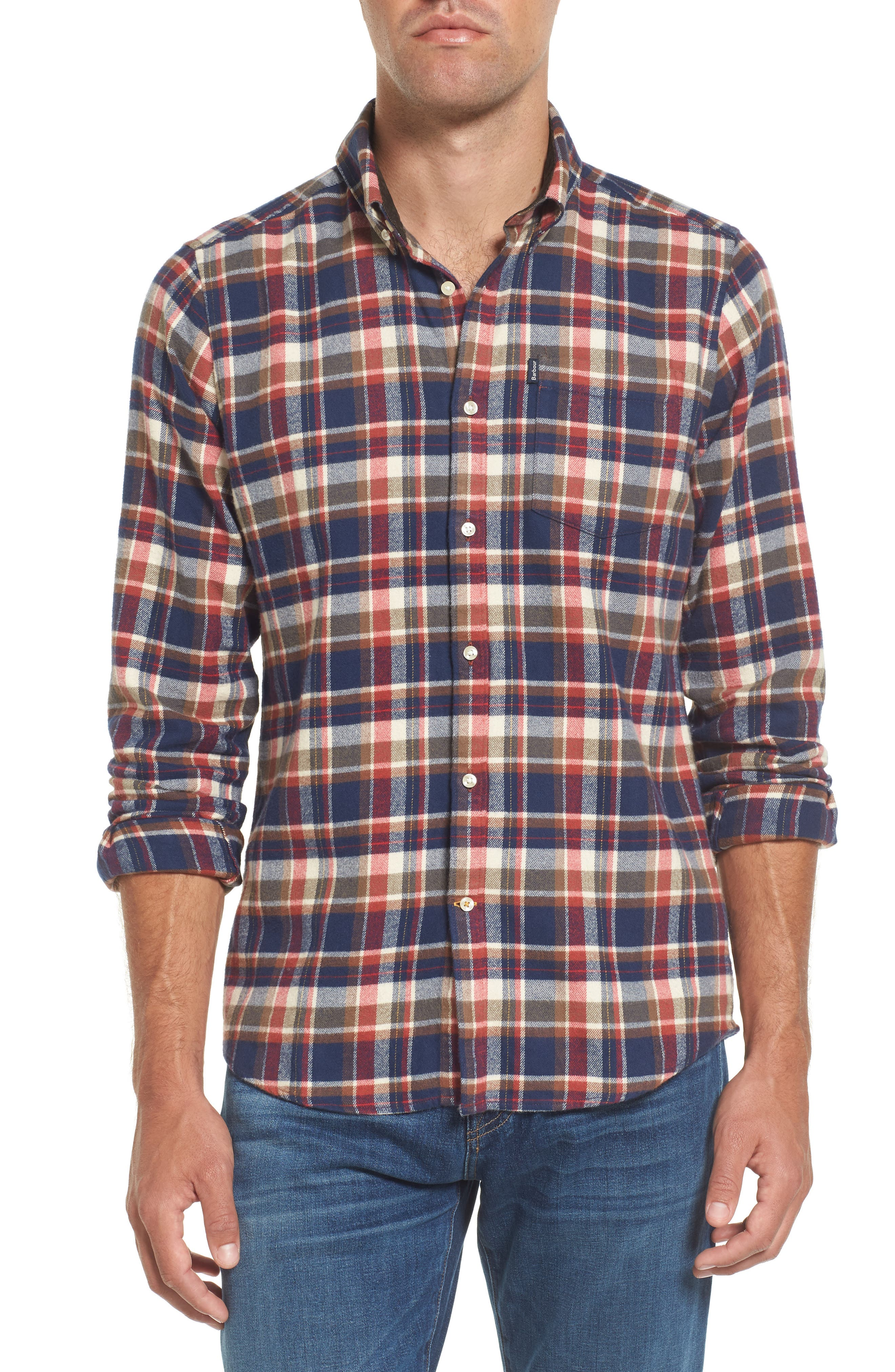 Blake Plaid Sport Shirt,                         Main,                         color, Red