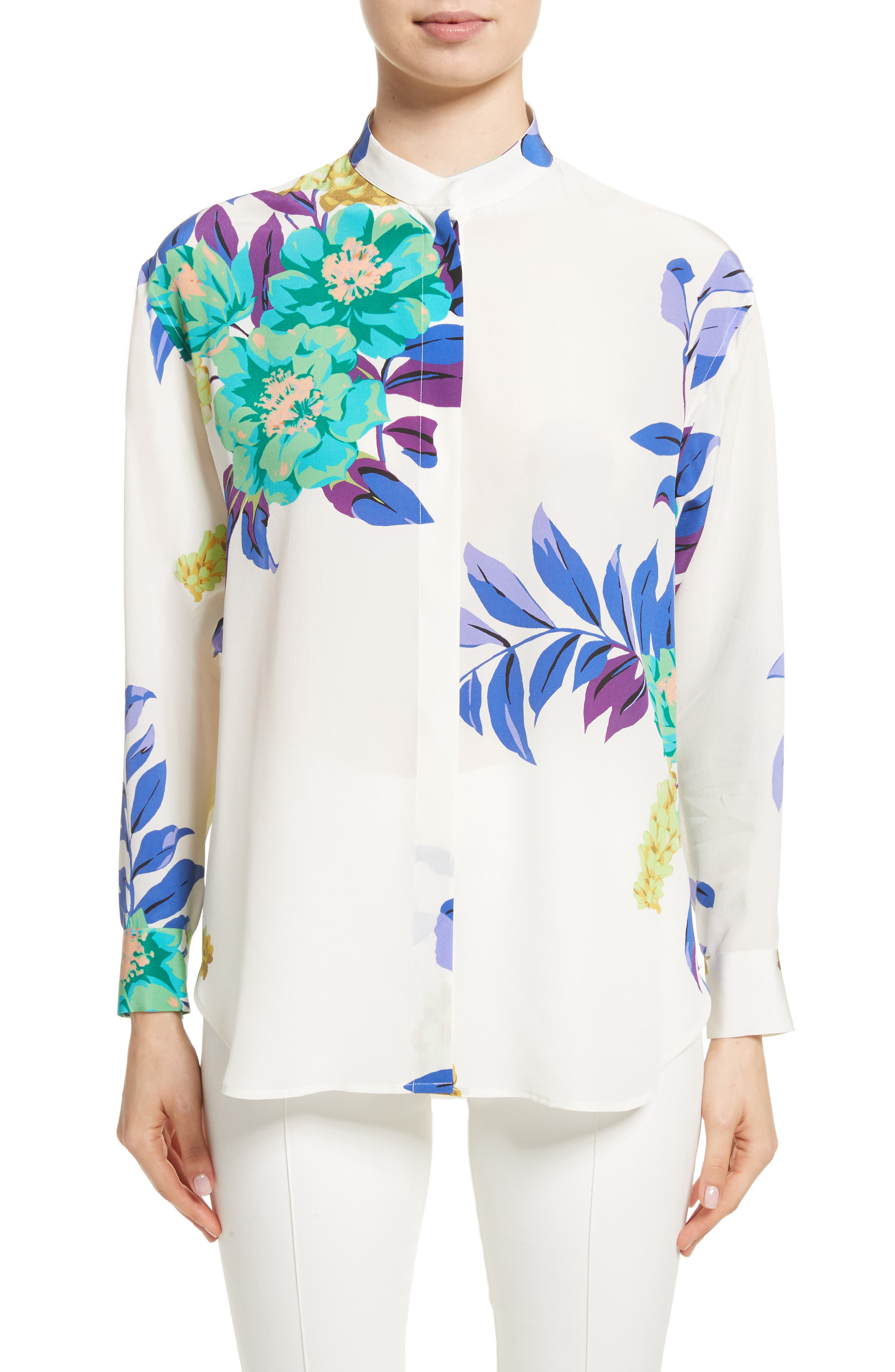 Floral Silk Blouse,                         Main,                         color, White