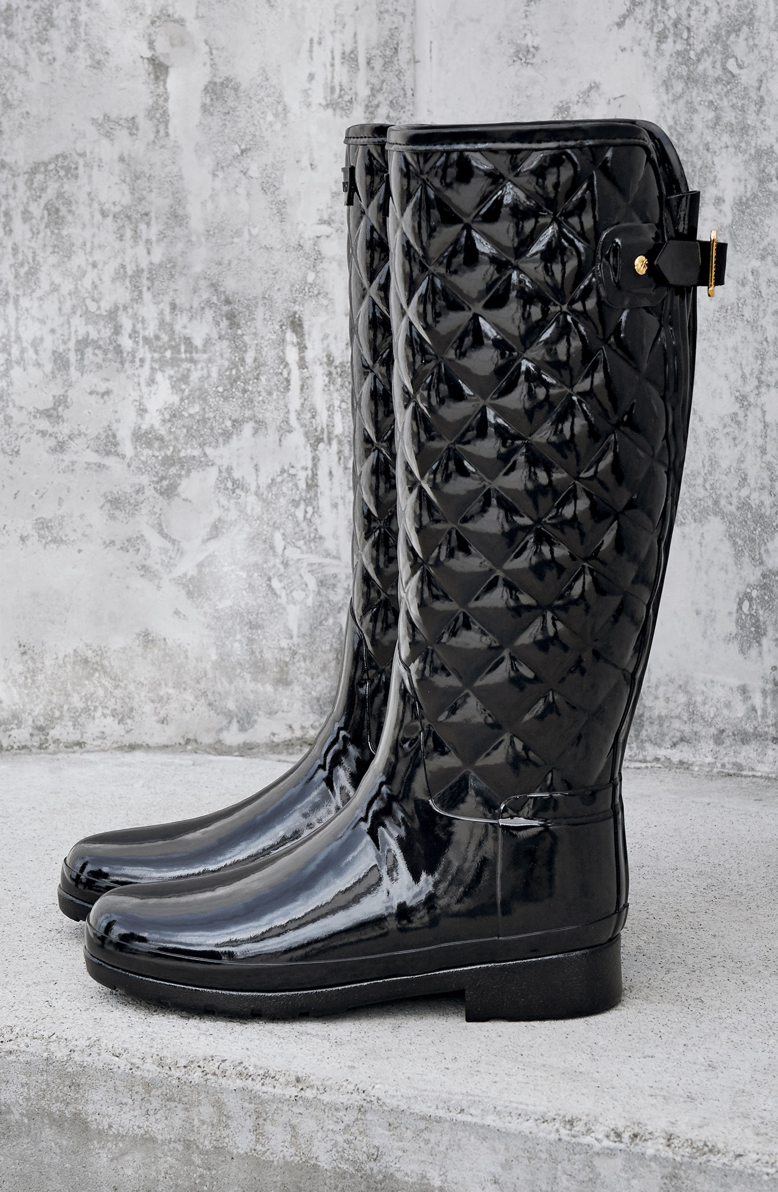 Original Refined High Gloss Quilted Rain Boot,                             Alternate thumbnail 7, color,